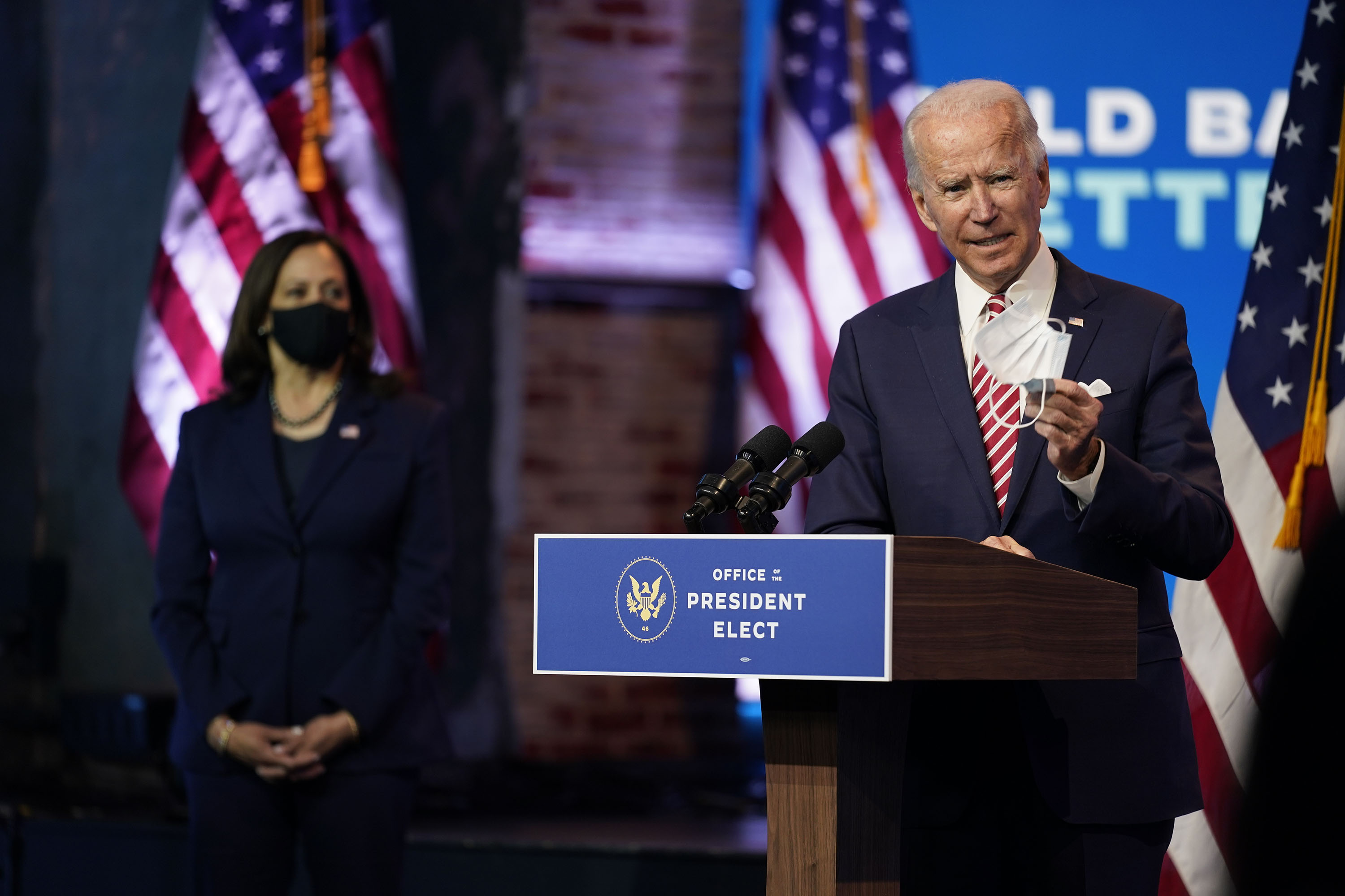 President-elect Joe Biden, accompanied by Vice President-elect Kamala Harris, speaks at The Queen theater in Wilmington, Delaware, on November 16.