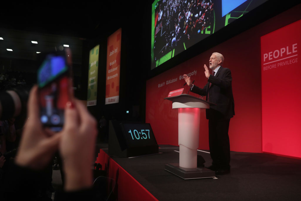Labour leader Jeremy Corbyn at his party's conference on Tuesday.