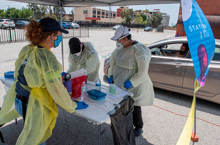 Medical staff from myCovidMD provide free COVID-19 virus antibody testing in o at the Faith Central Bible Church, in tnglewood, California on Friday, June 19.