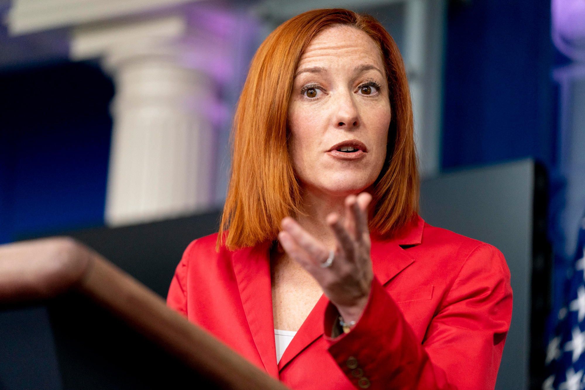 White House press secretary Jen Psaki speaks during a press briefing at the White House on March 11 in Washington, DC.