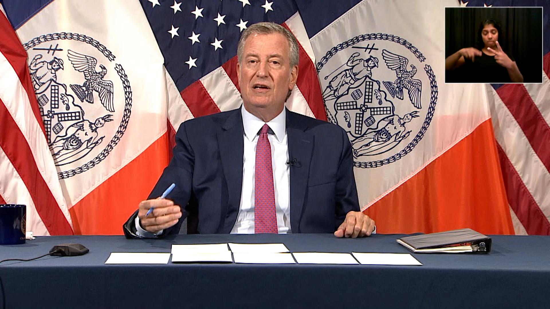 New York City Mayor Bill de Blasio speaks during a press briefing in New York on July 21.
