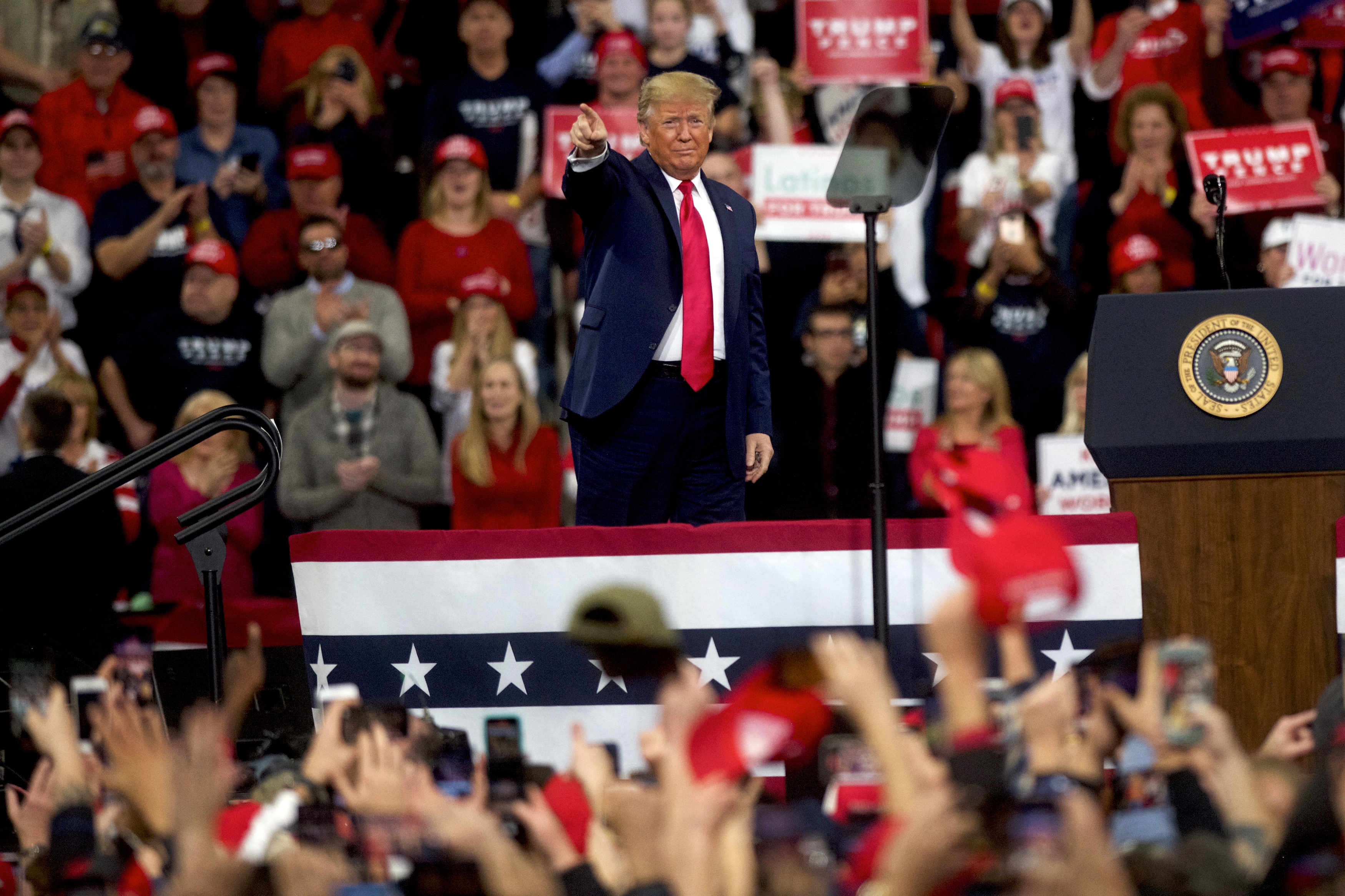 US President Donald Trump during the campaign rally in Hershey, Pennsylvania.