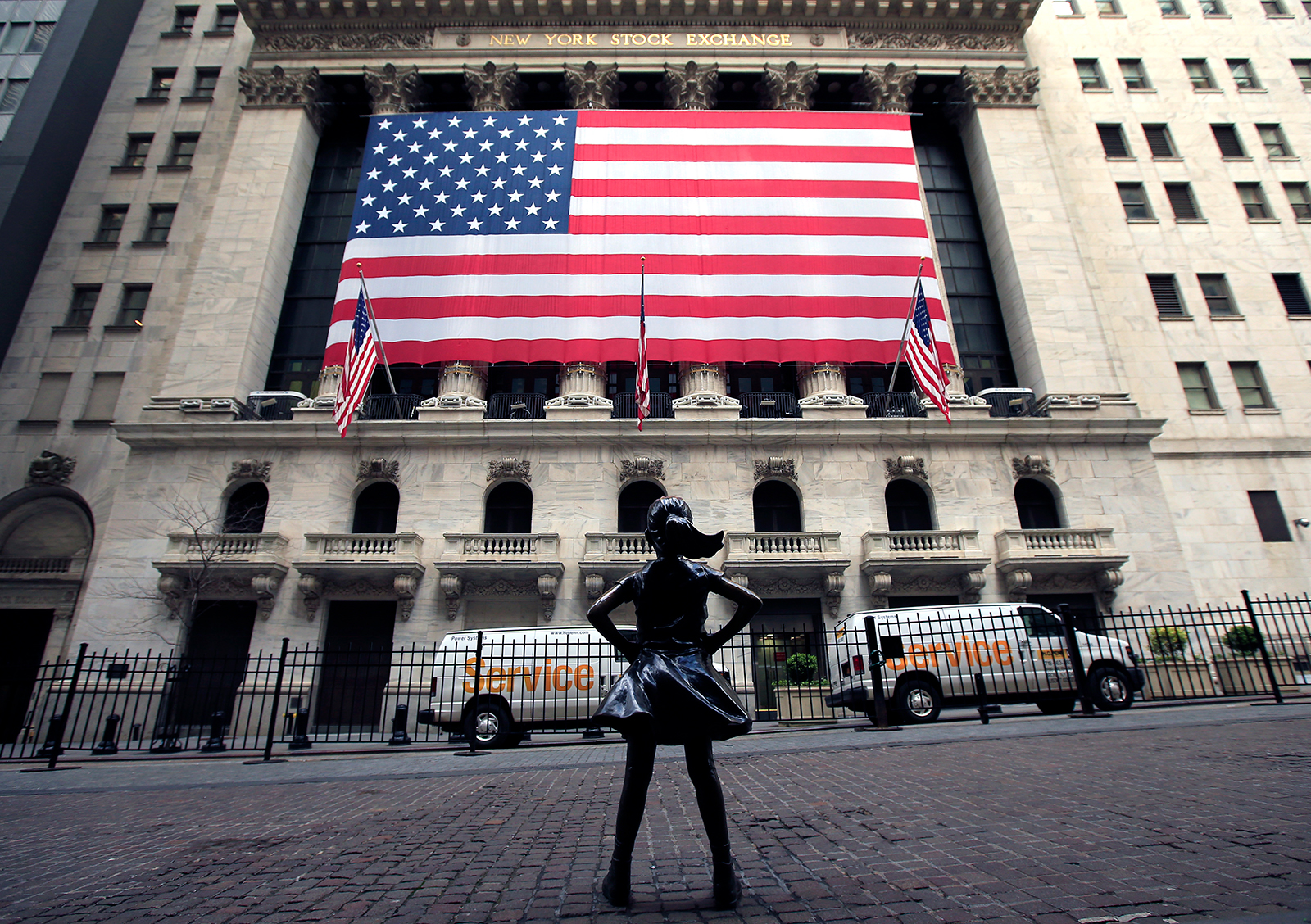 The Fearless Girl statue stands alone in front of the New York Stock Exchange near Wall Street on April 25, in New York City.