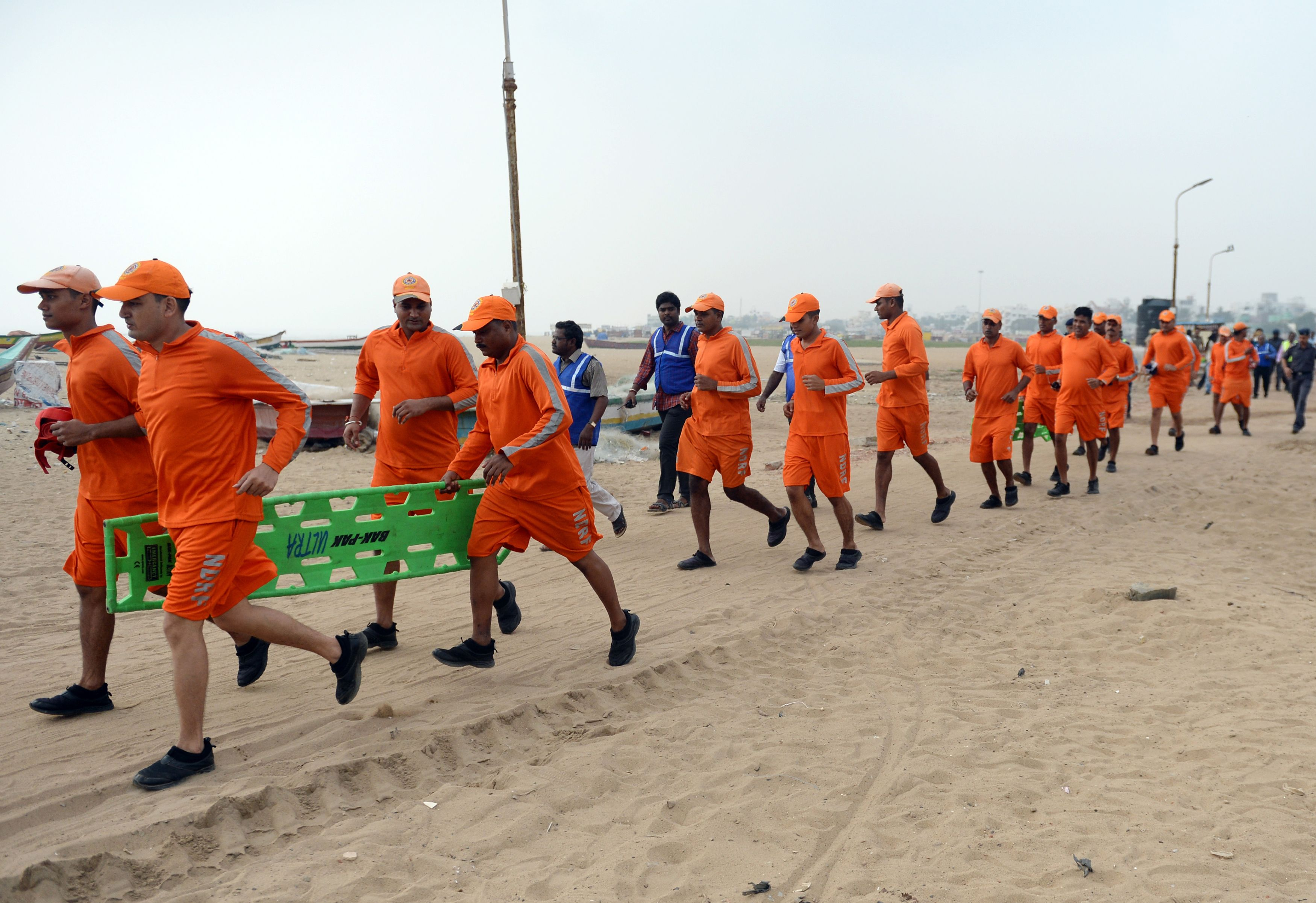 Members of India's National Disaster Response Force take part in a training exercise in in 2017.