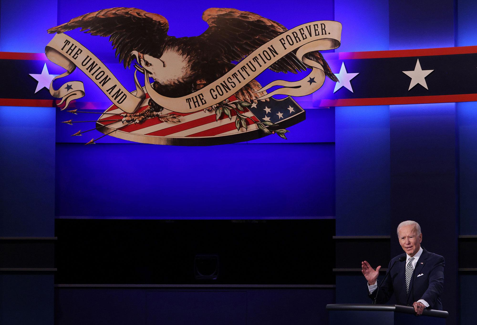 Democratic presidential nominee Joe Biden participates in the first presidential debate on September 29.