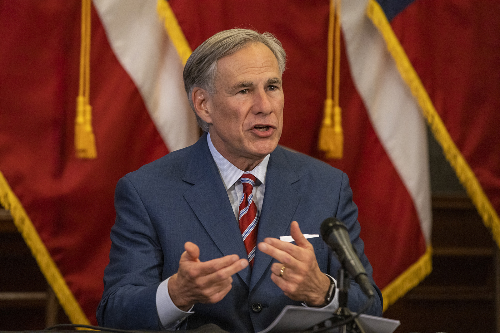 Texas Governor Greg Abbott announces the reopening of more Texas businesses during the Covid-19 pandemic at a press conference at the Texas State Capitol on May 18, 2020 in Austin, Texas.