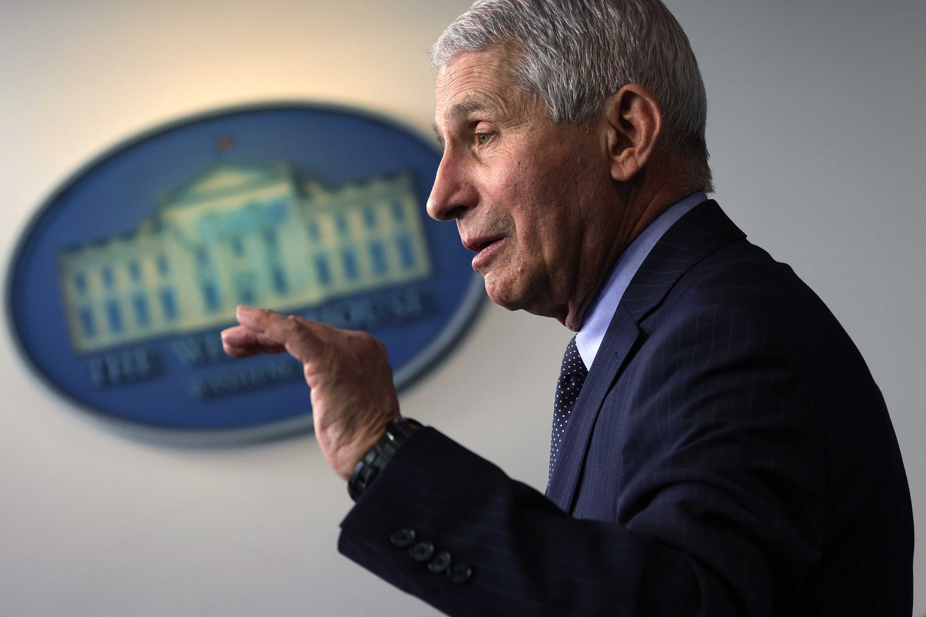 Dr. Anthony Fauci speaks during a White House press briefing on January 21 in Washington, DC.