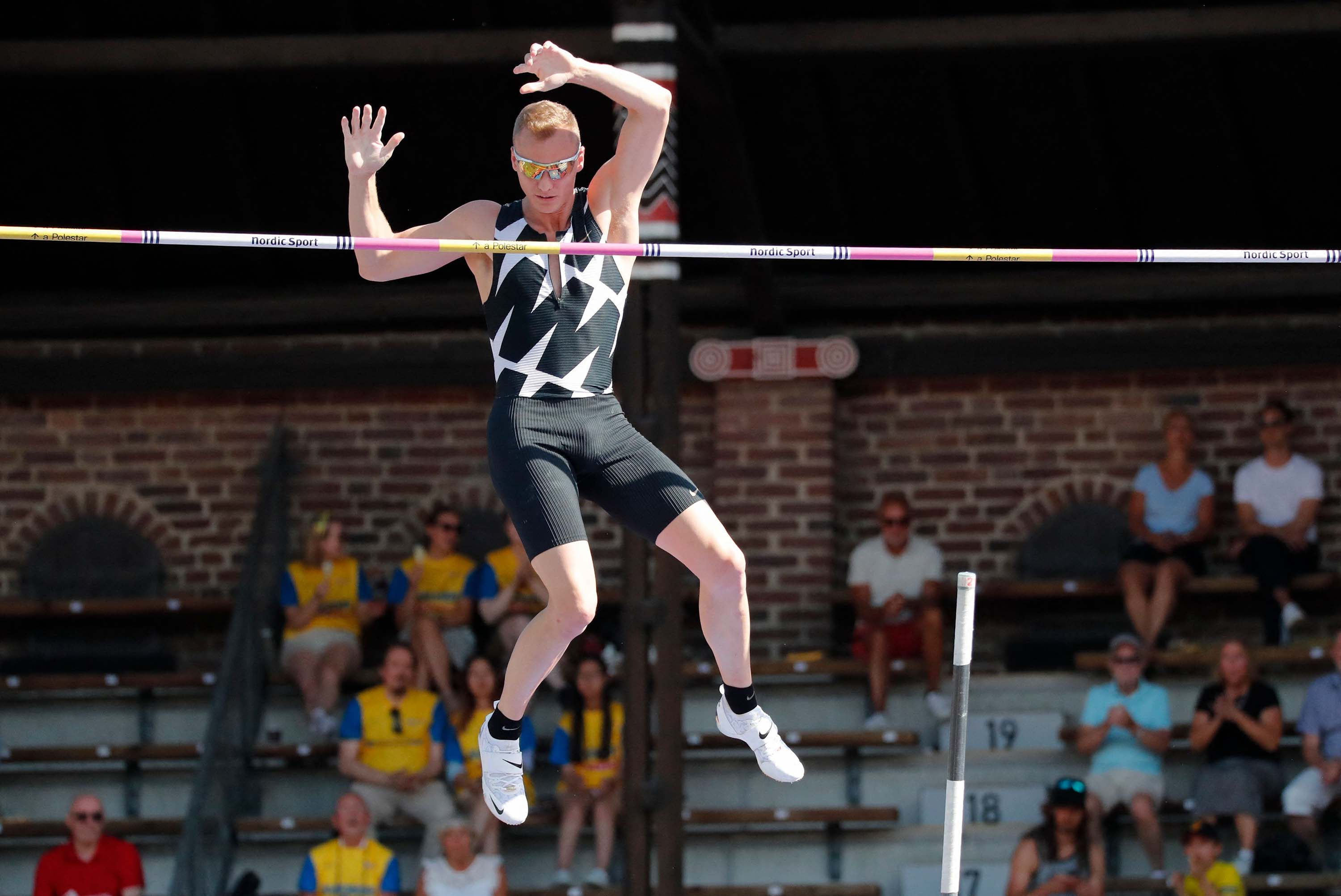 American Sam Kendricks competes in the men's pole vault final at the Wanda Diamond League Track and Field Championships in Stockholm, Sweden on July 4.