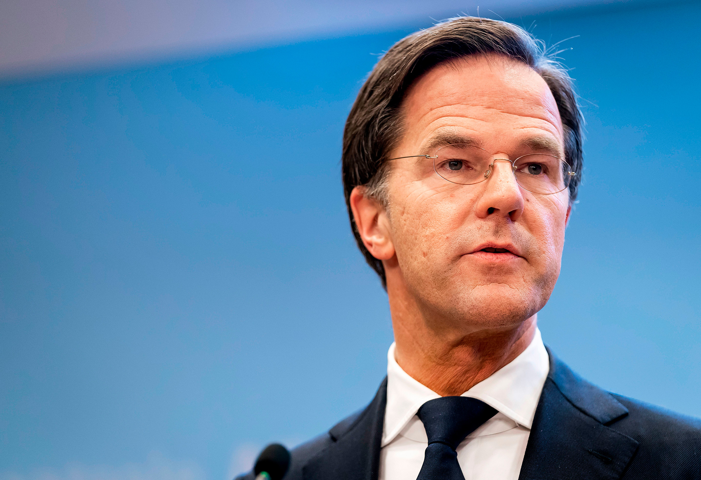 Dutch Prime Minister Mark Rutte speaks about the country's Covid-19 restrictions during a press conference on January 12 in The Hague, Netherlands.