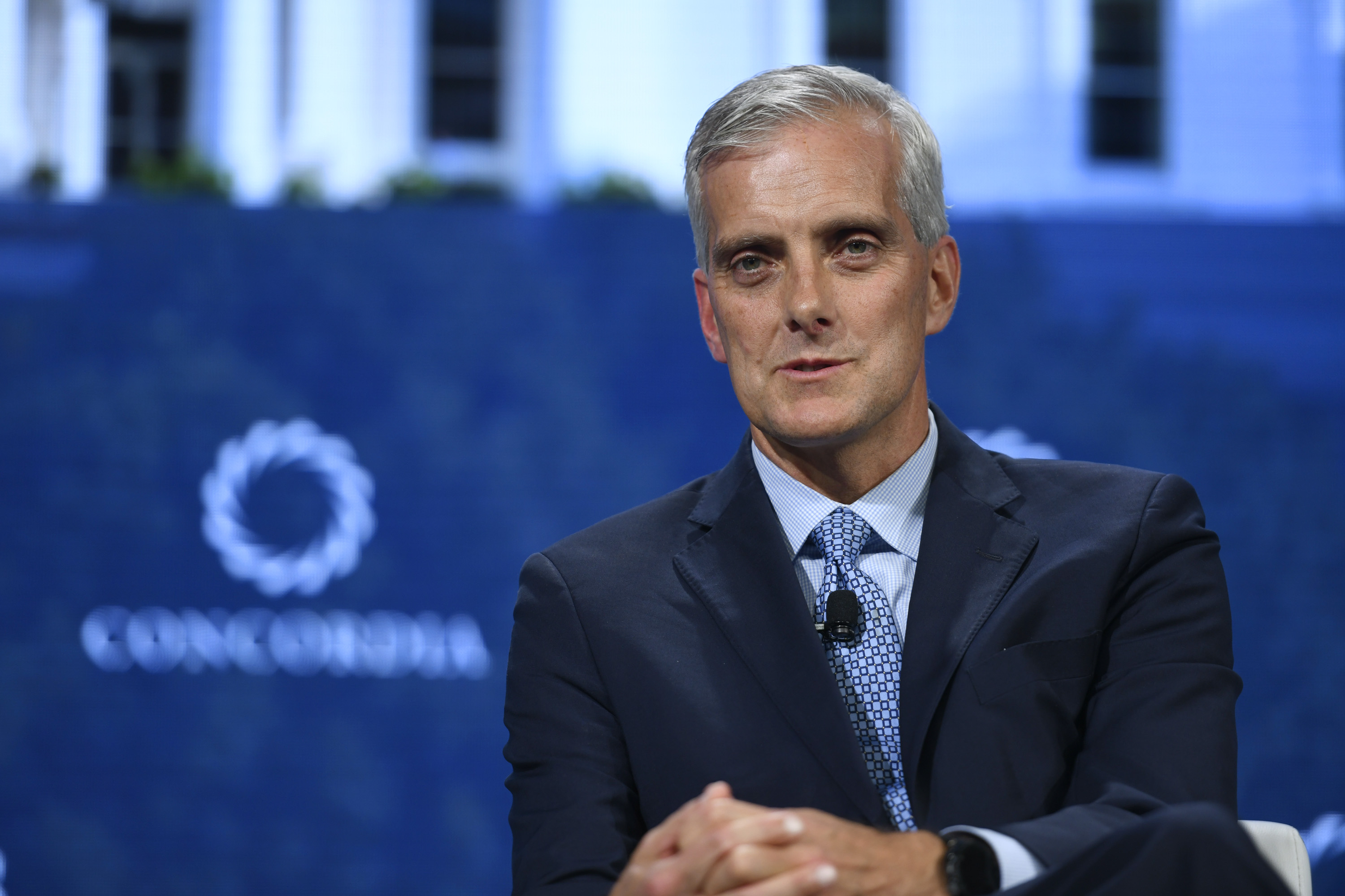 Denis McDonough speaks during the 2018 Concordia Annual Summit in New York.