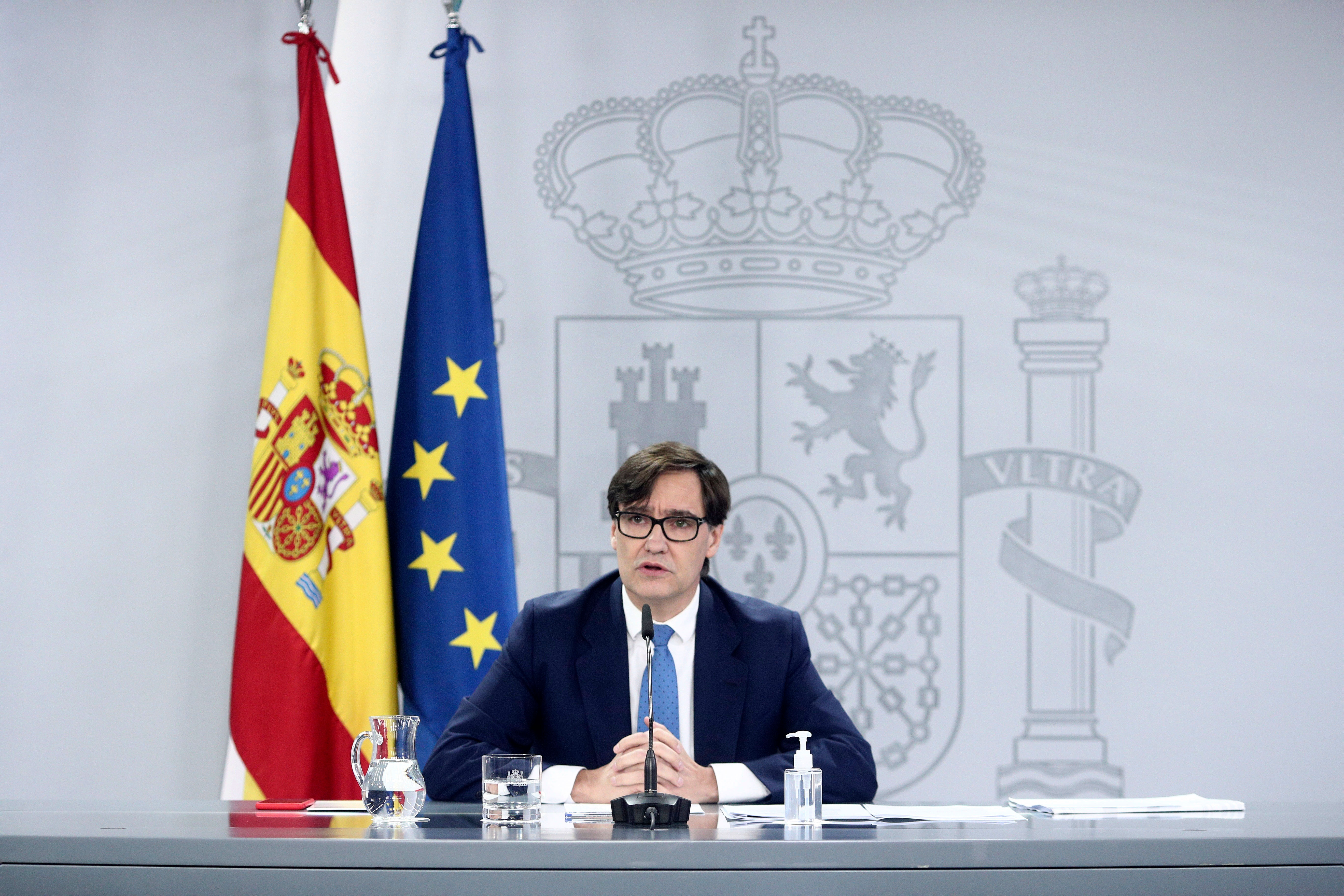 Salvador Illa, Spain's health minister, speaks at a press conference in Madrid on November 27.