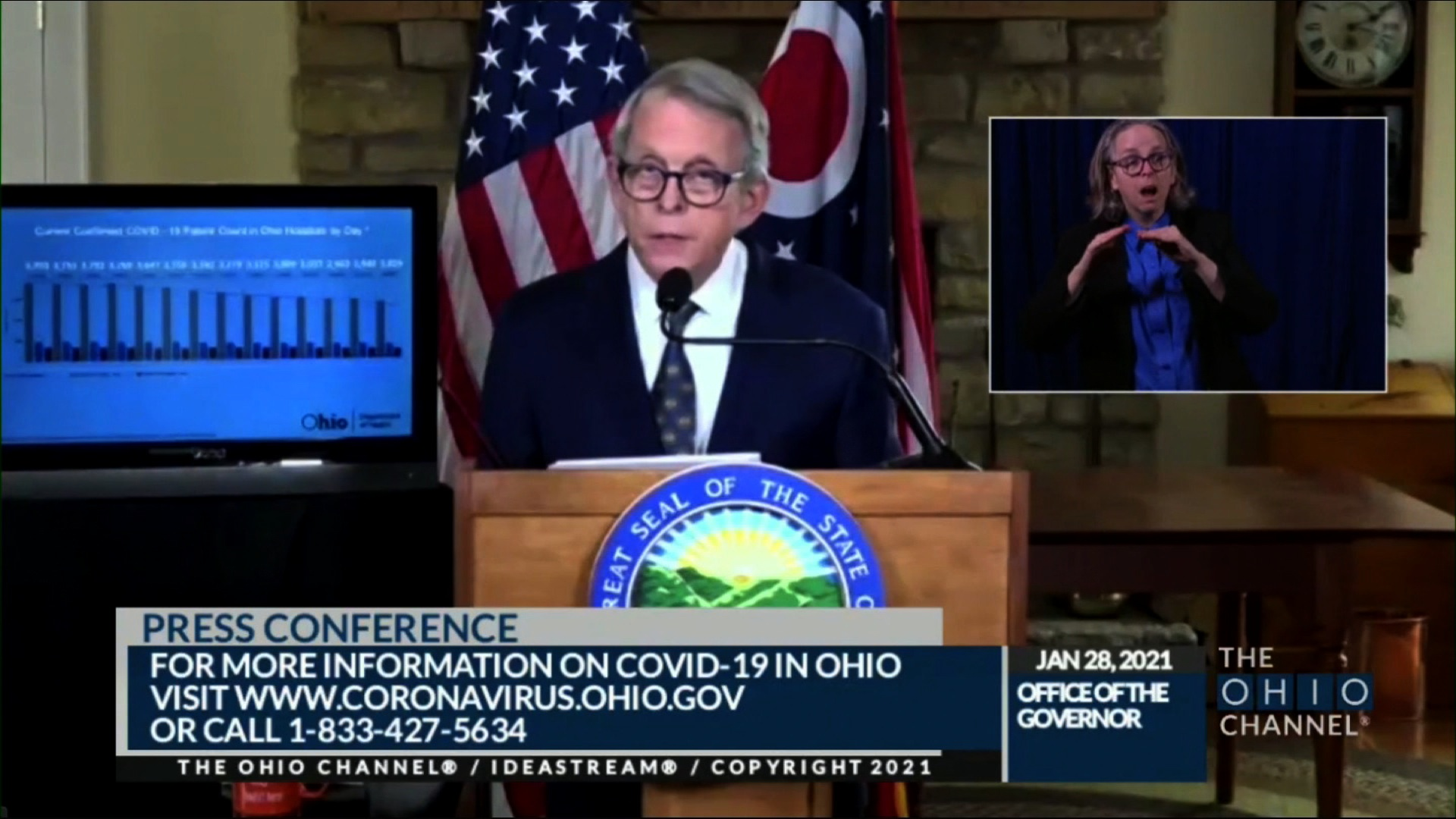 Gov. Mike DeWine speaks during a press conference in Columbus, Ohio, on January 28.