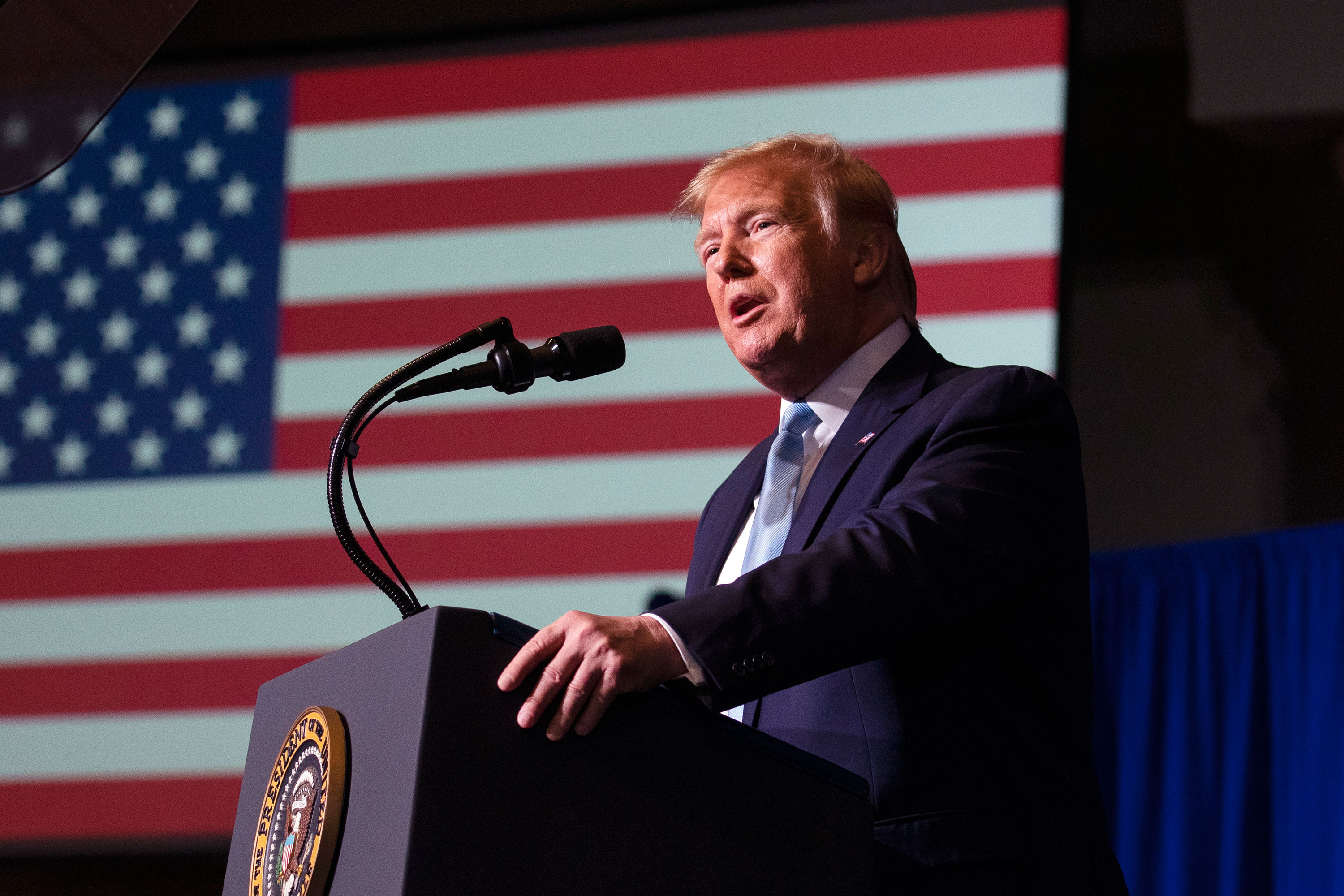 "President Donald Trump speaks during an ""Evangelicals for Trump Coalition Launch"" at King Jesus International Ministry, in Miami."