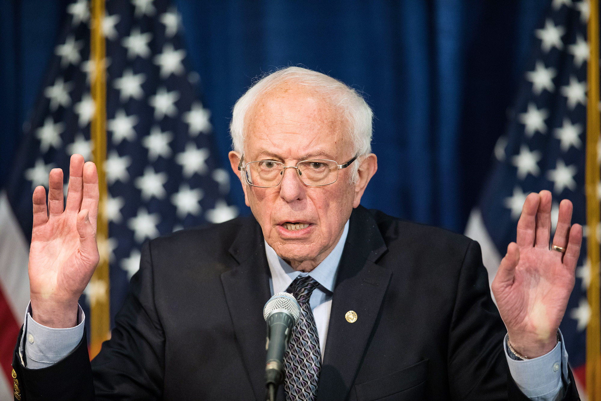 Then Democratic presidential candidate Sen. Bernie Sanders delivers a campaign update at the Hotel Vermont on March 11 in Burlington, Vermont.