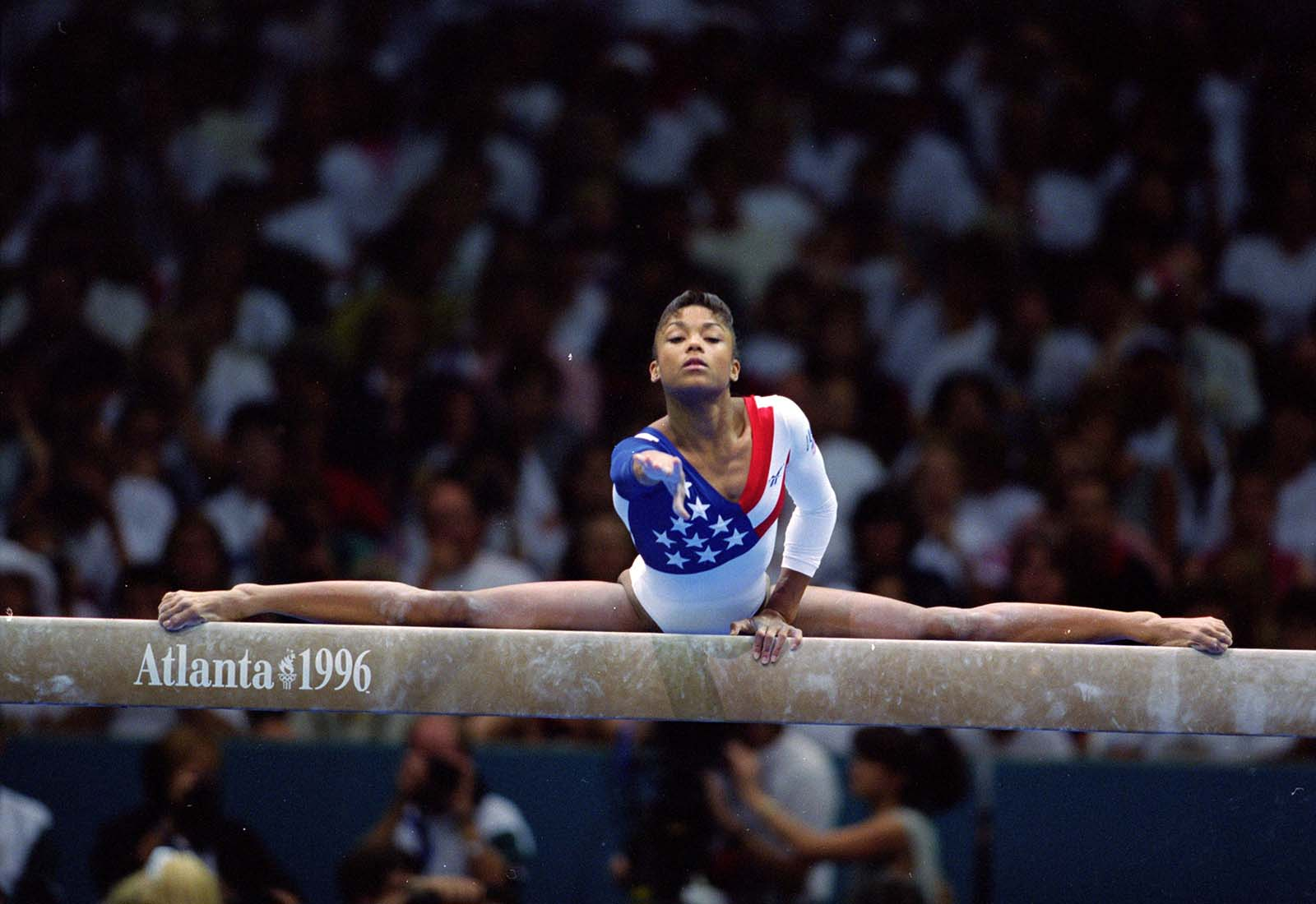 American gymnast Dominique Dawes is pictured during the 1996 Olympic Games in Atlanta, Georgia.