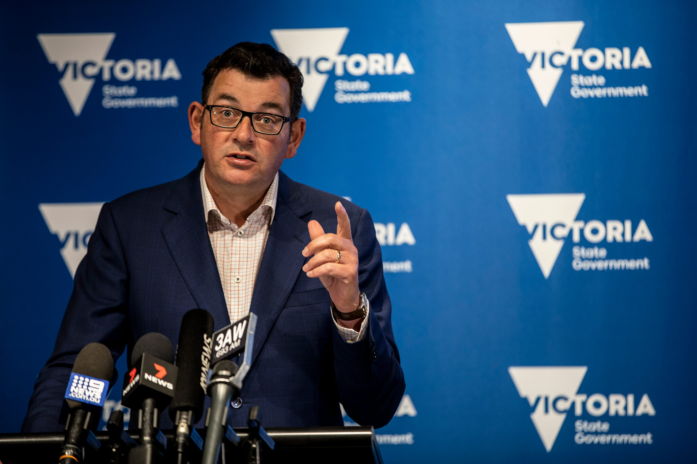 Victoria Premier Daniel Andrews speaks at a news conference on February 12, in Melbourne, Australia.