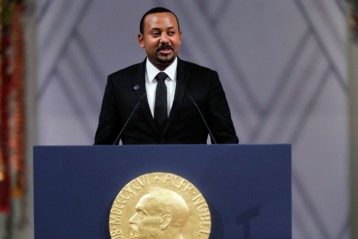 Ethiopia's Prime Minister Abiy Ahmed makes a speech during the Nobel Peace Prize award ceremony in Oslo City Hall, Norway on December 10, 2019.