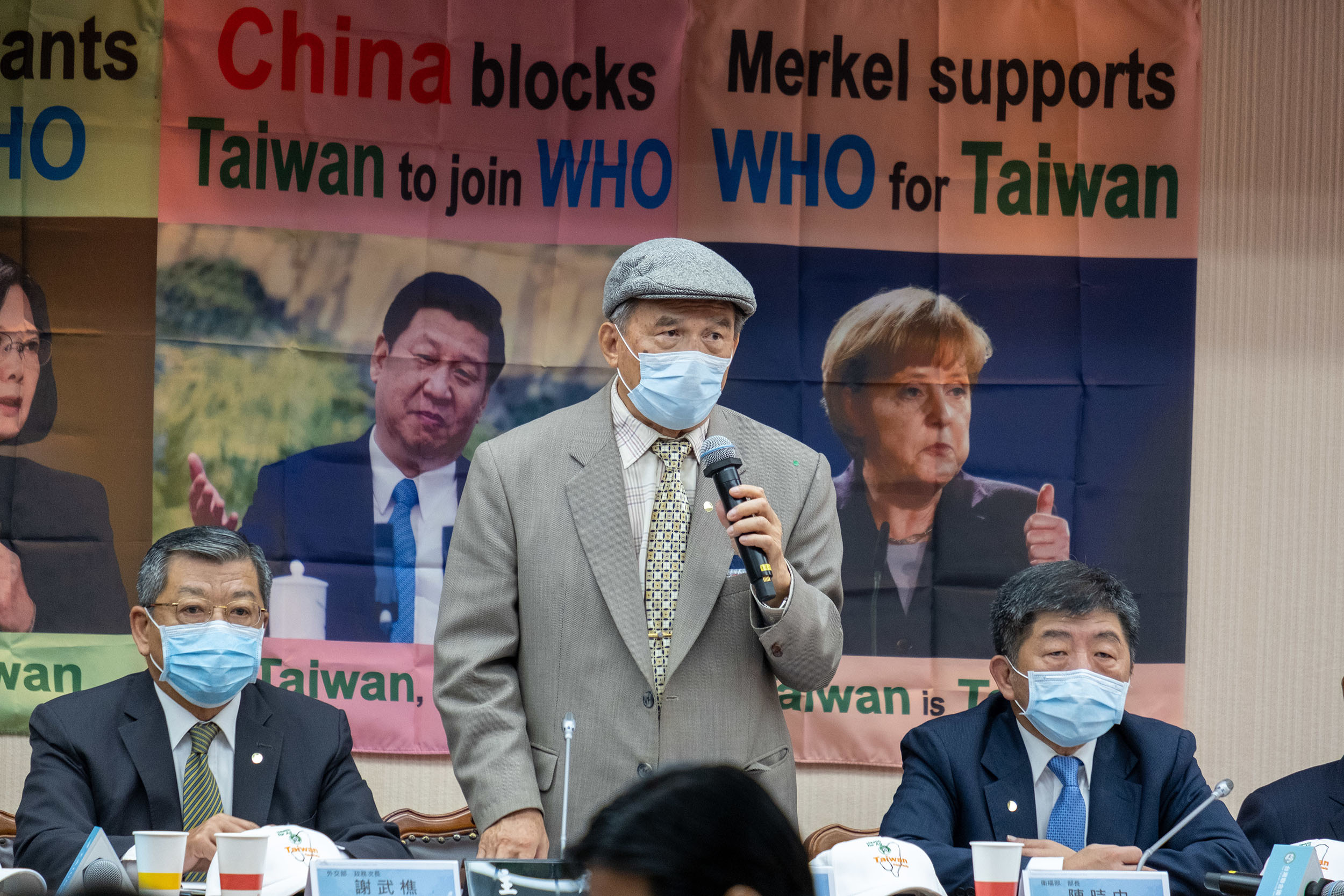 The Taiwan United Nations Alliance Chairman Michael Tsai, center, and Minister of Health Chen Shih-Chung, right, attend a conference on Taiwan's efforts to enter the World Health Assembly hosted by the World Health Organization in Taipei, Taiwan, on Friday, May 15.