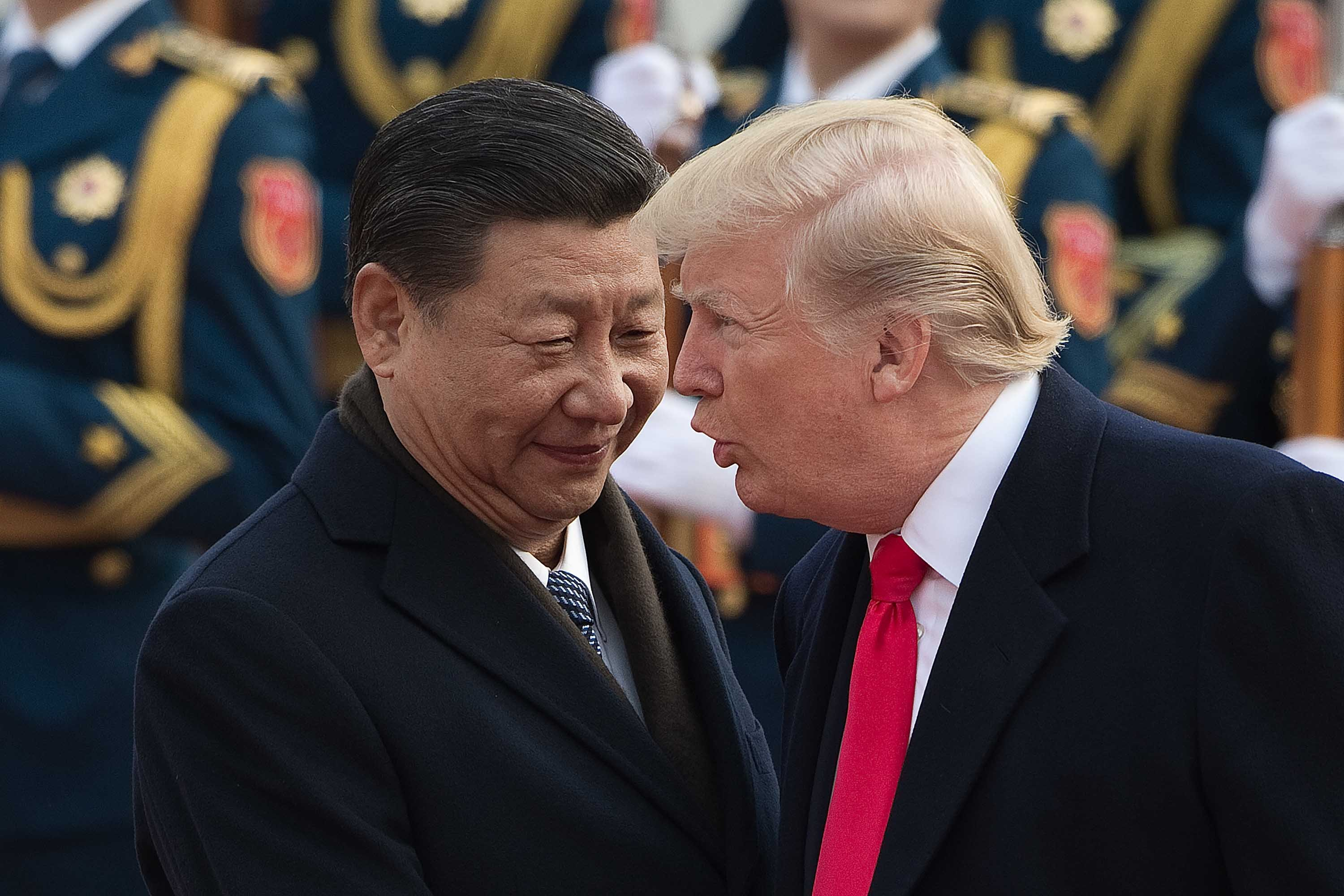 Chinese PresidentXiJinpingand US President DonaldTrump in Beijing in November 2017. They are set to discuss the US-China trade war on Sunday.