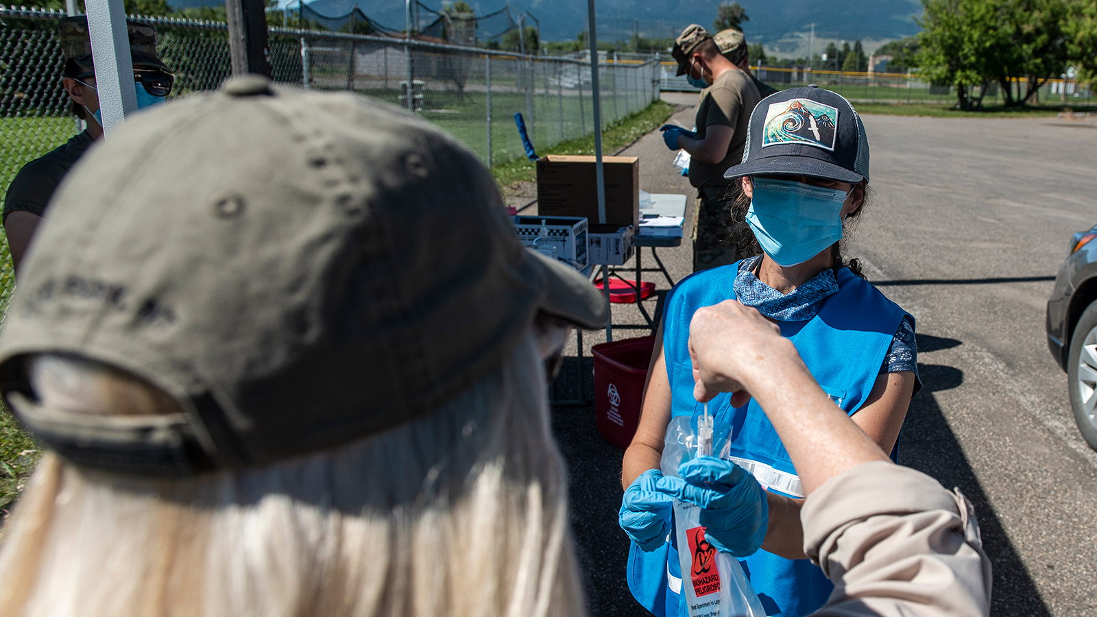 People volunteer for Covid-19 surveillance testing using the Quest Diagnostics self administered PCR test on on July 12 in Livingston, Montana.