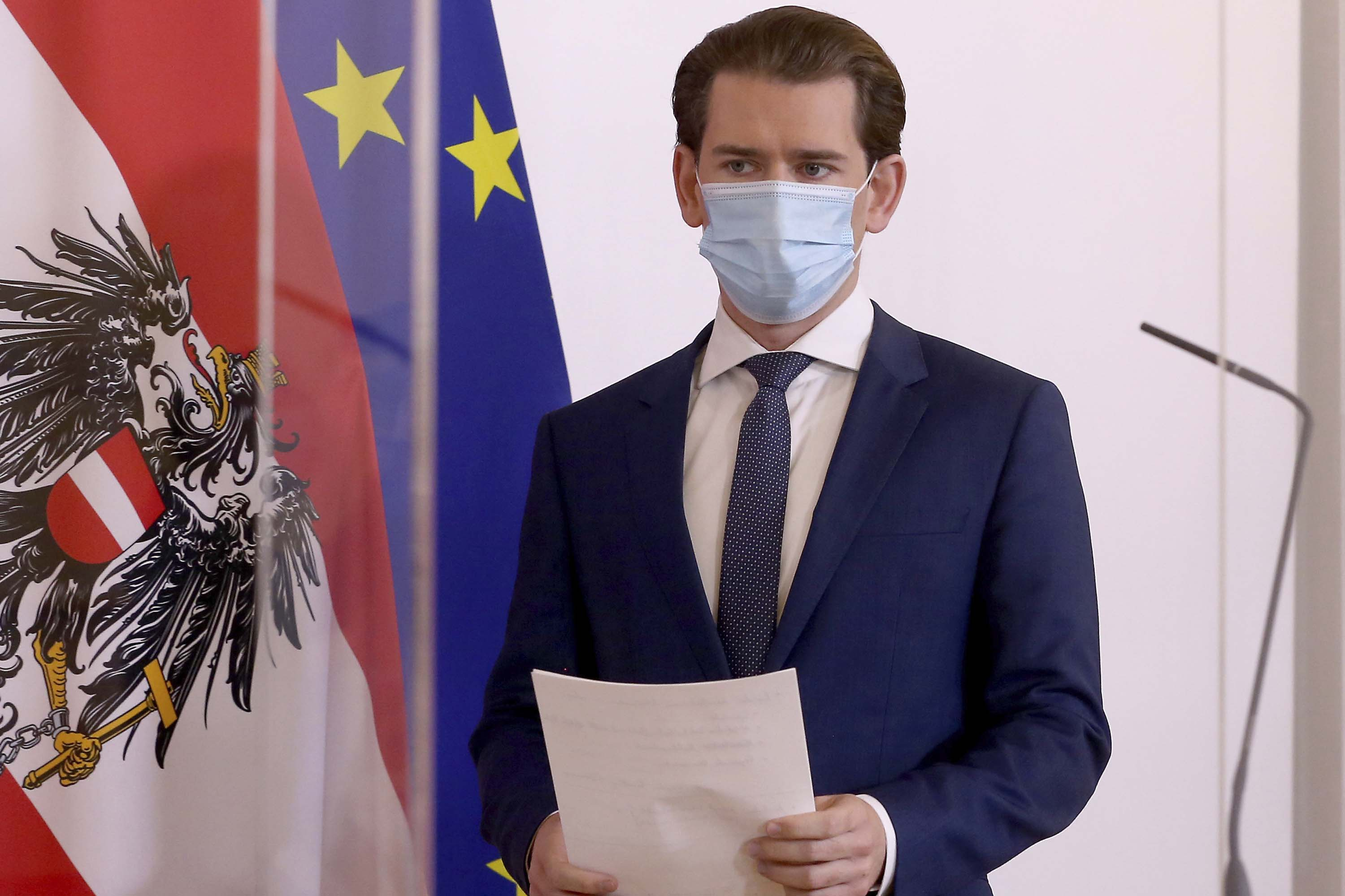Austrian Chancellor Sebastian Kurz is pictured arriving for a press conference in Vienna, Austria, on October 19.