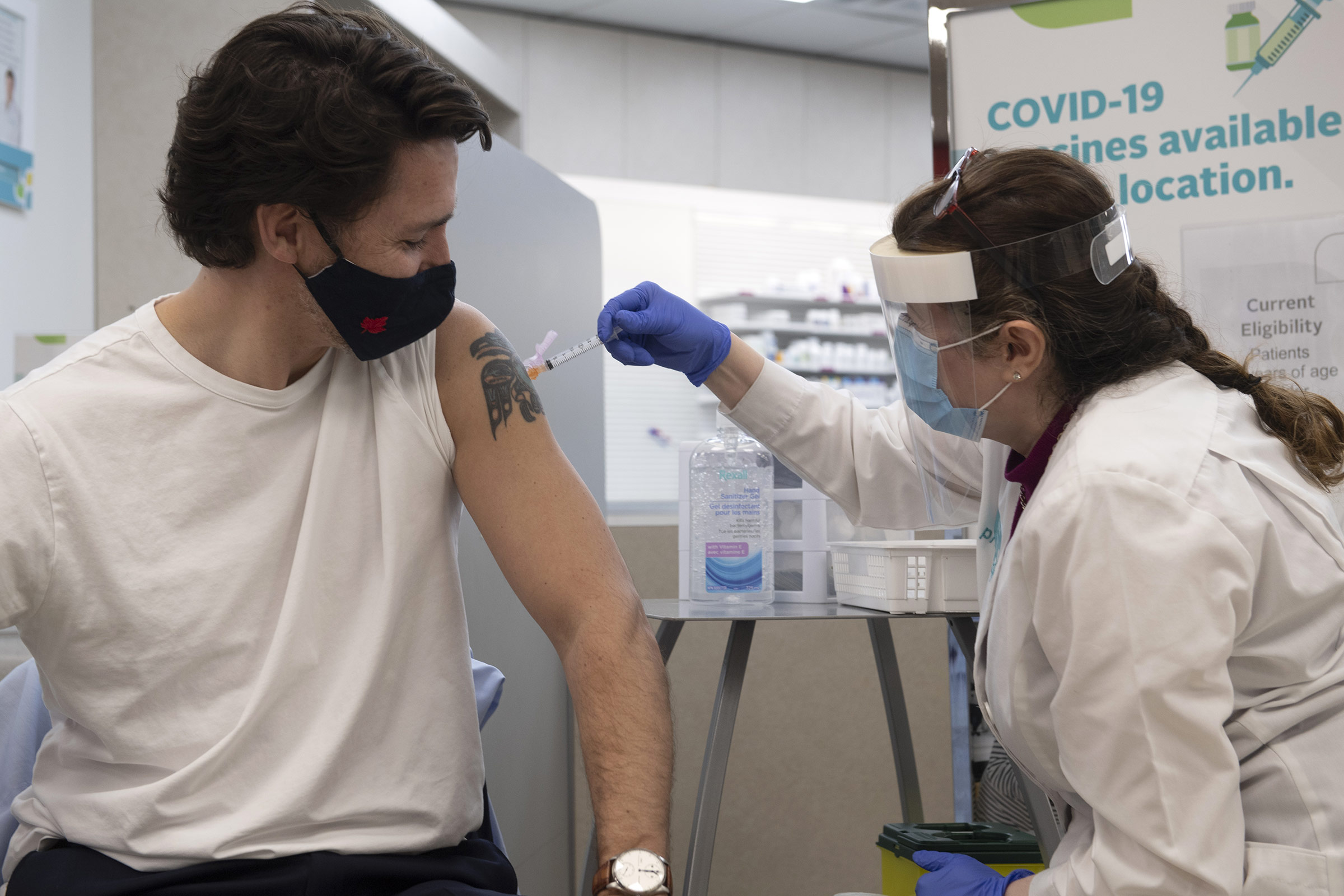 Canadian Prime Minister Justin Trudeau receives a dose of the AstraZeneca Covid-19 vaccine in Ottawa, Canada, on Friday, April 23.