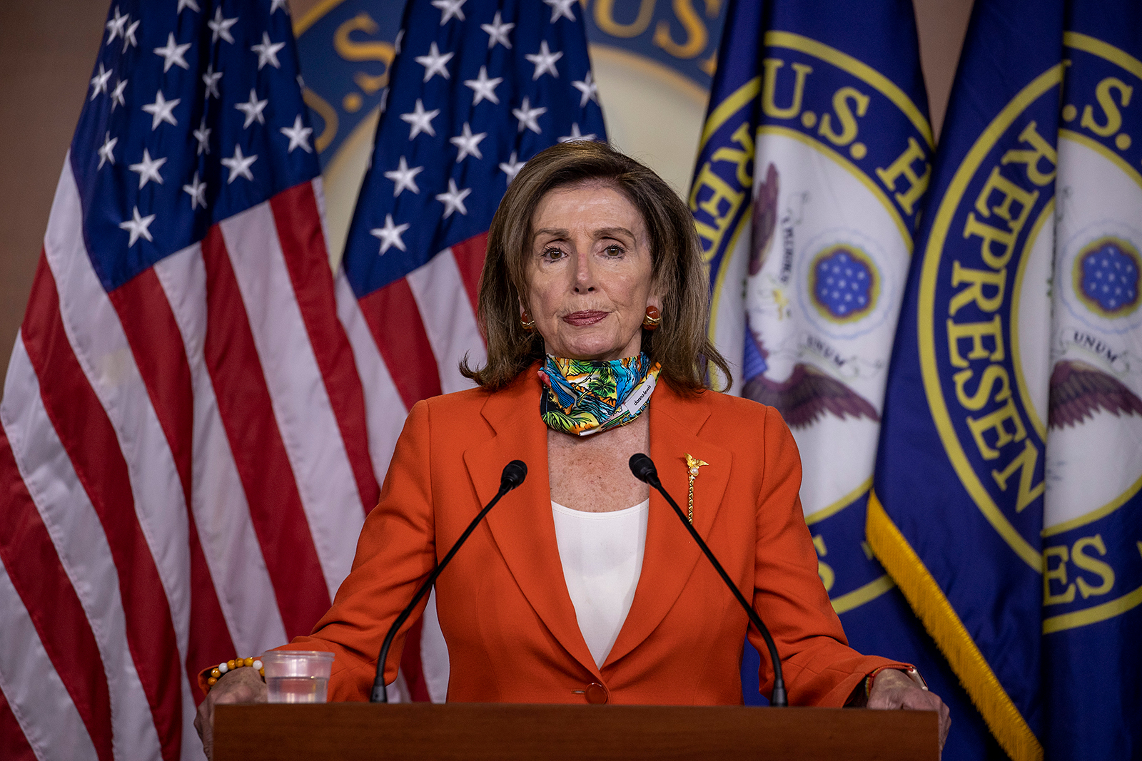 Speaker of the House Nancy Pelosi speaks at her weekly press conference on Capitol Hill in Washington, DC on June 26.