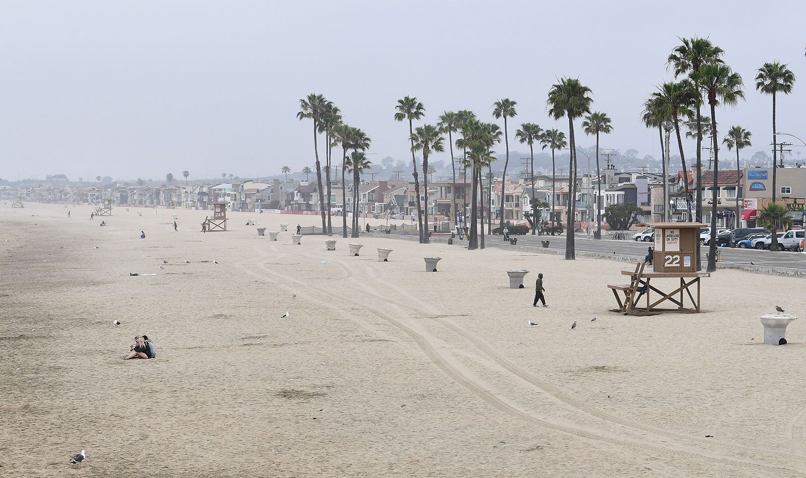 A nearly empty beach in Newport Beach, California, on April 30.
