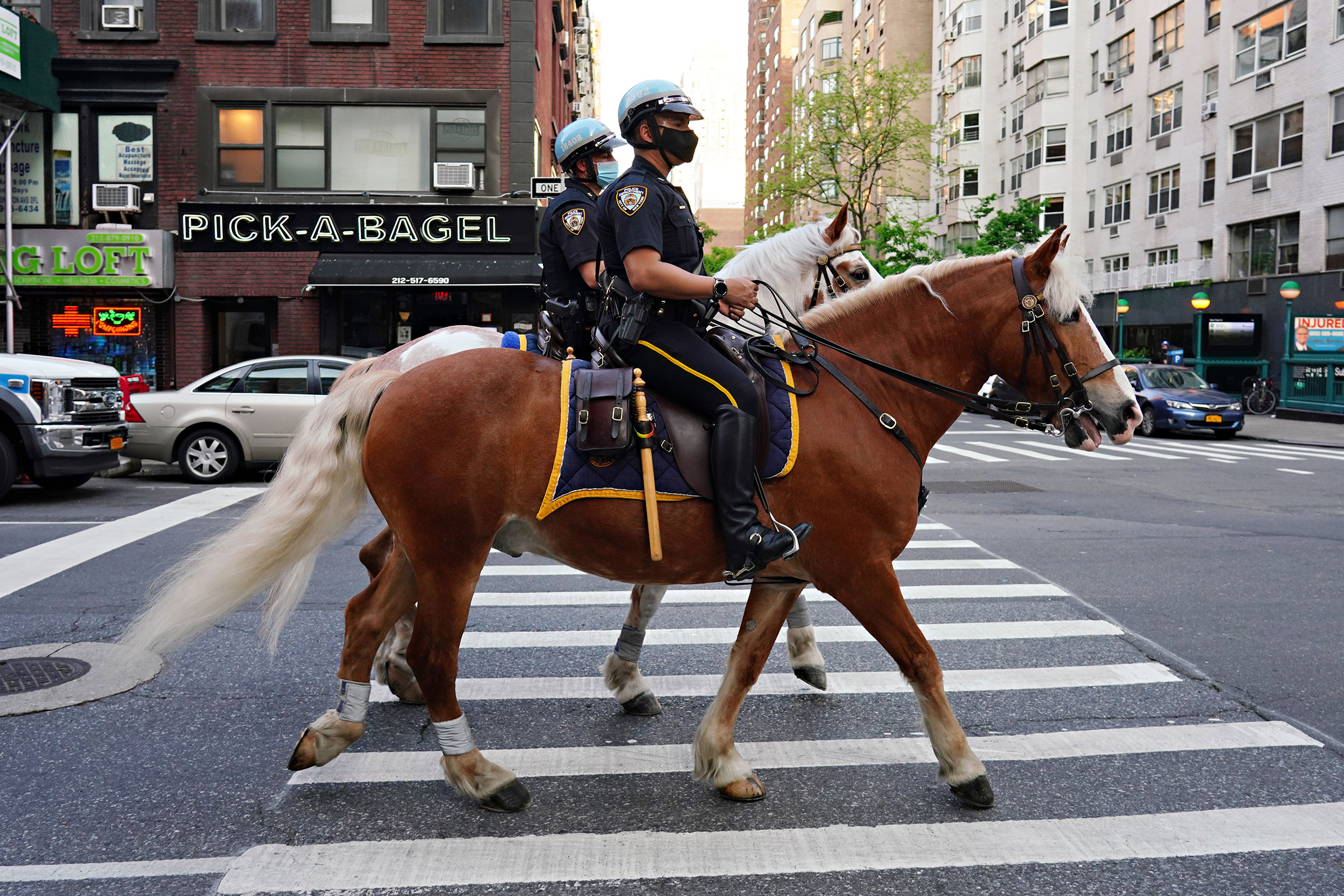NYPD Mounted Unit officers ride up to Lenox Hill Hospital to show gratitude to the medical staff on May 15.