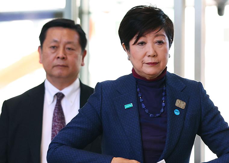 Tokyo Govenor Yuriko Koike arrives at Tokyo Metropolitan Government headquarters in Shinjuku Ward, Tokyo on Wednesday,  March 25.