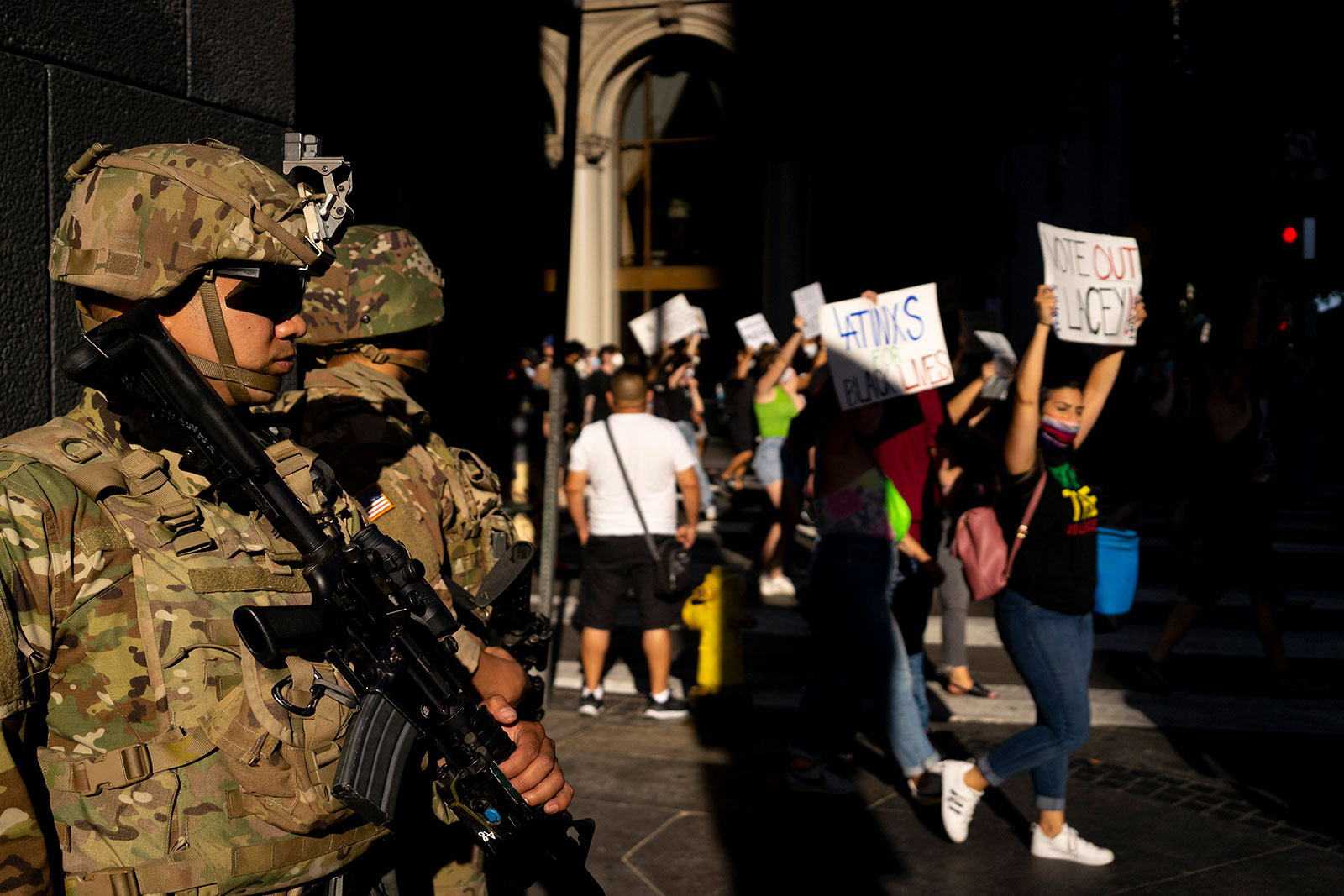 National Guardsmen watch over a protest in Los Angeles on June 3.