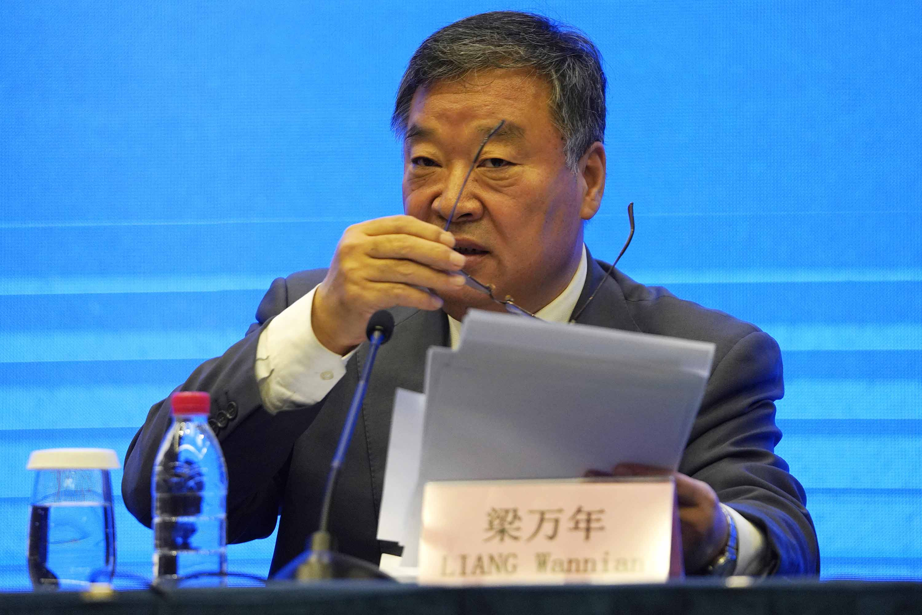 Liang Wannian speaks during a joint press conference with the World Health Organization team in Wuhan, China, on Tuesday, February 9.