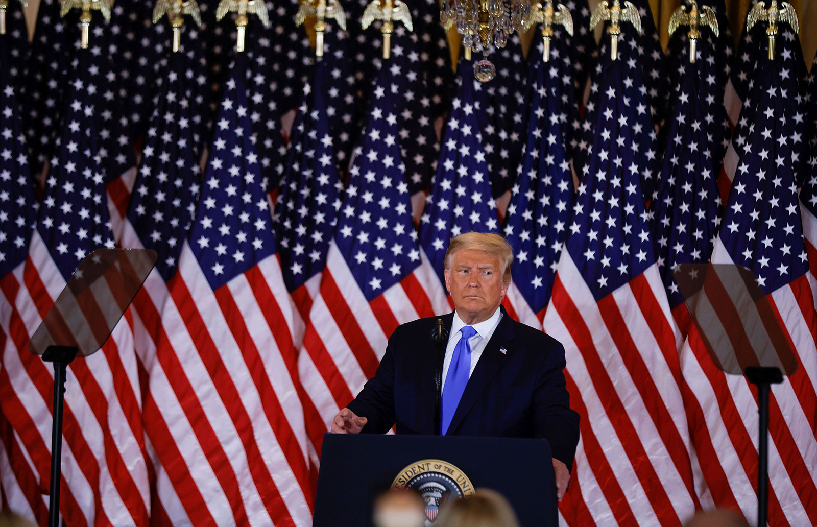 President Donald Trump speaks during election night in the East Room of the White House on November 4.