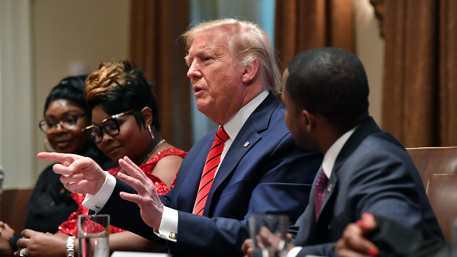 President Donald Trump speaks during an African-American History Month reception in the Cabinet Room of the White House on Feb. 27.