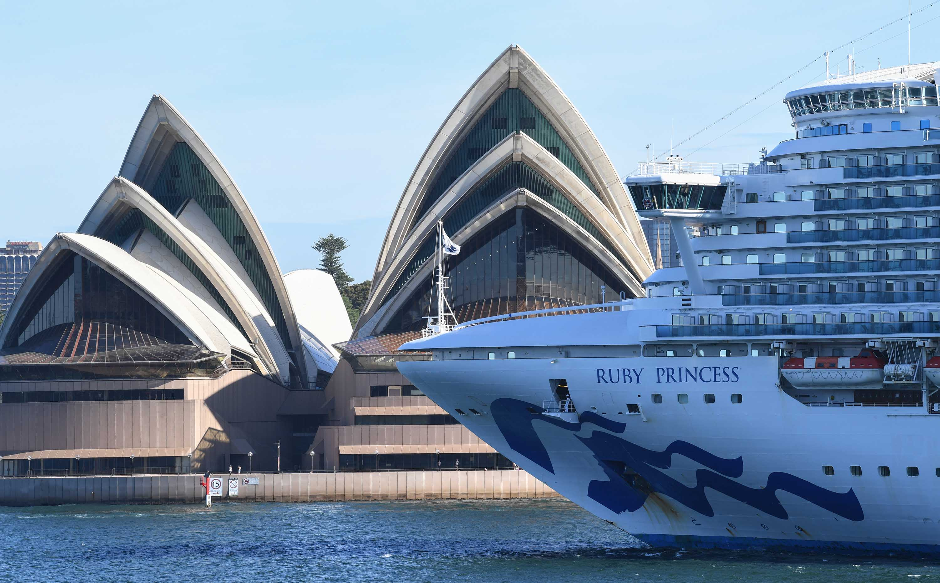 The Ruby Princess cruise ship departs Sydney Harbour on March 19.