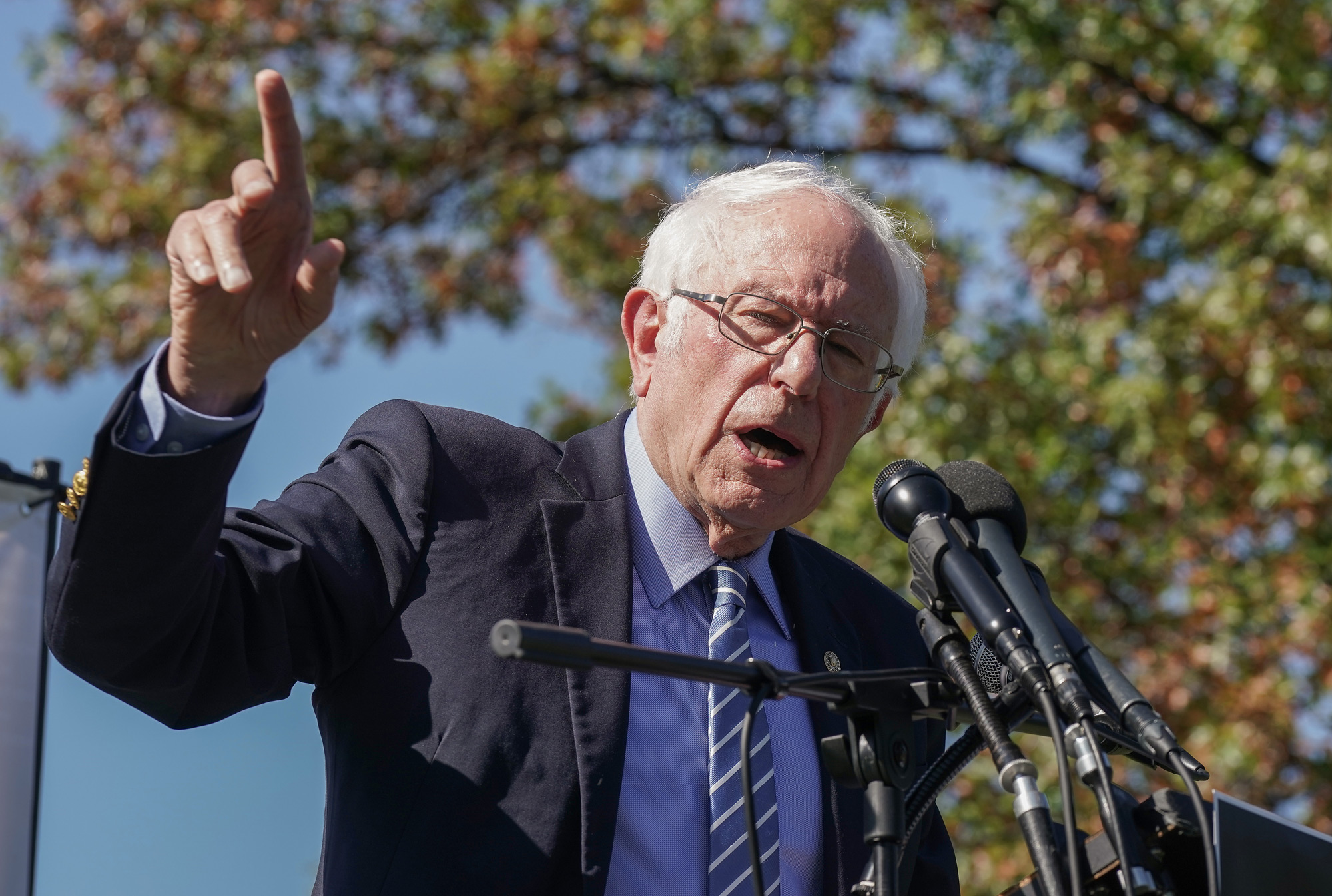 U.S. Senator Bernie Sanders speaks at a protest at the U.S. Capitol on October 22 in Washington, DC.