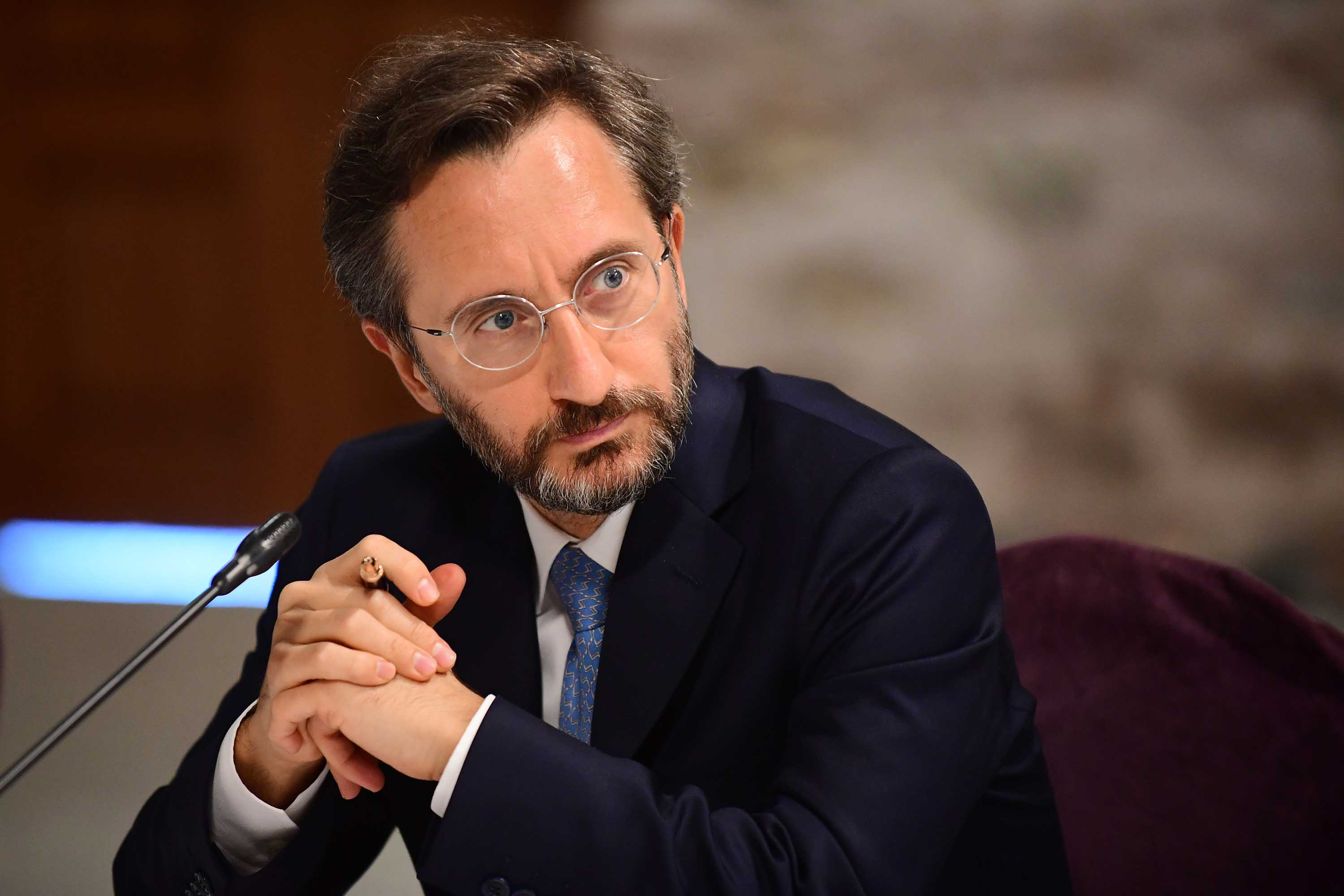 Turkey's Communications Director Fahrettin Altun is pictured during a meeting in Istanbul, Turkey on September 7.