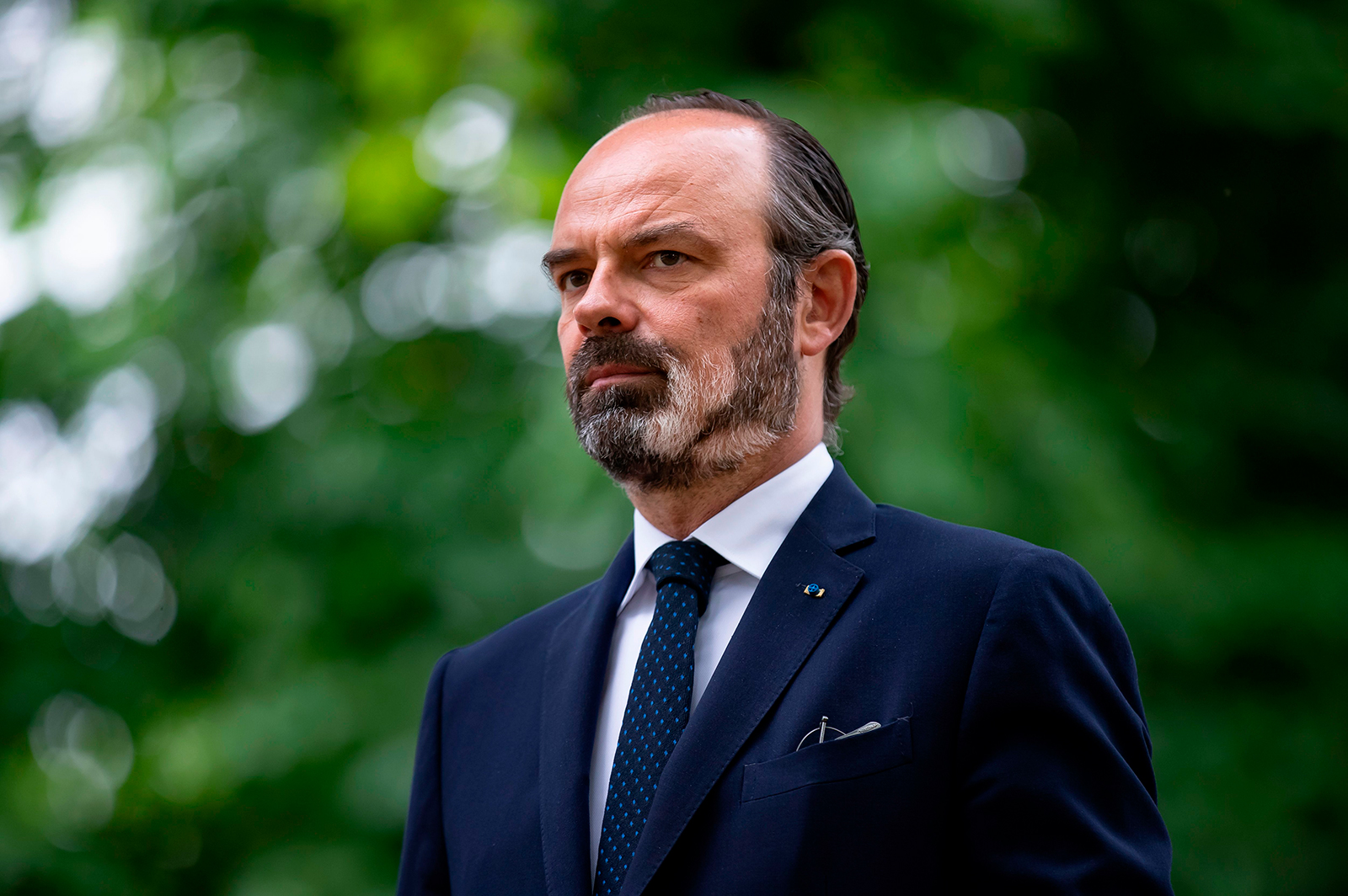 French Prime Minister Edouard Philippe, seen here in Paris on May 10, said cafés and restaurants in green zones would reopen on June 2 as long as the situation doesn't deteriorate.