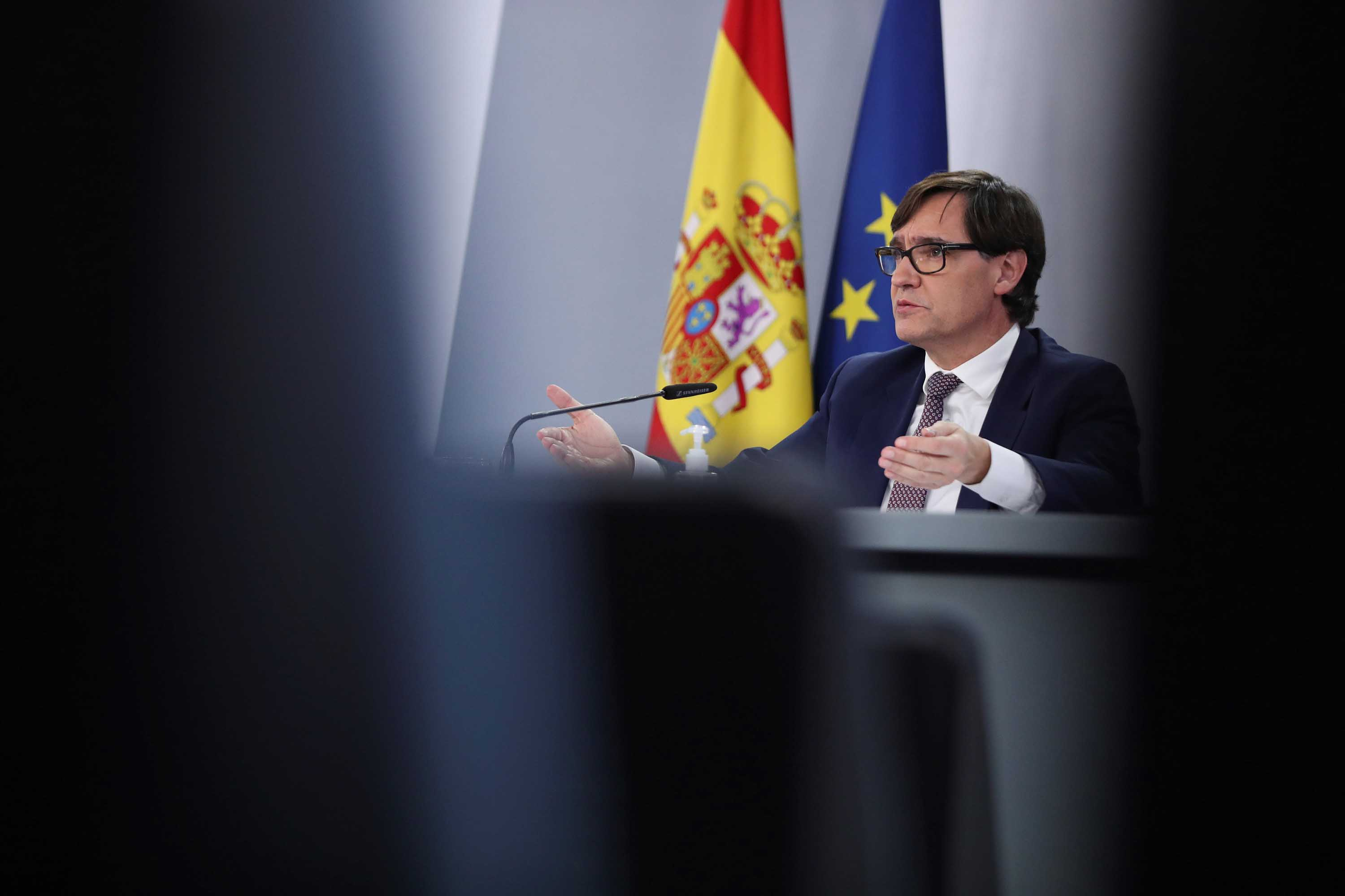 Spanish Health Minister Salvador Illa is seen during a press conference in Madrid, Spain, on December 28.