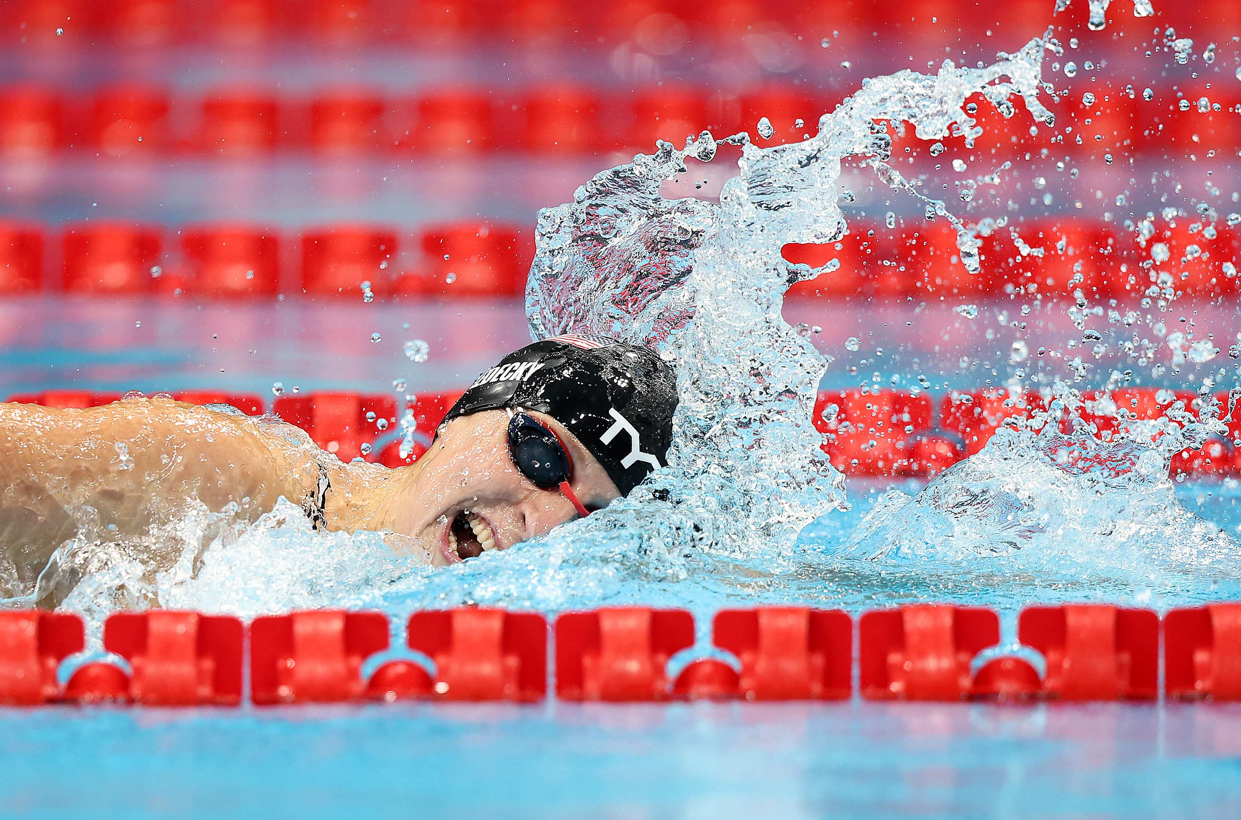 US swimmer Katie Ledecky competes in the 800m freestyle final on July 31.