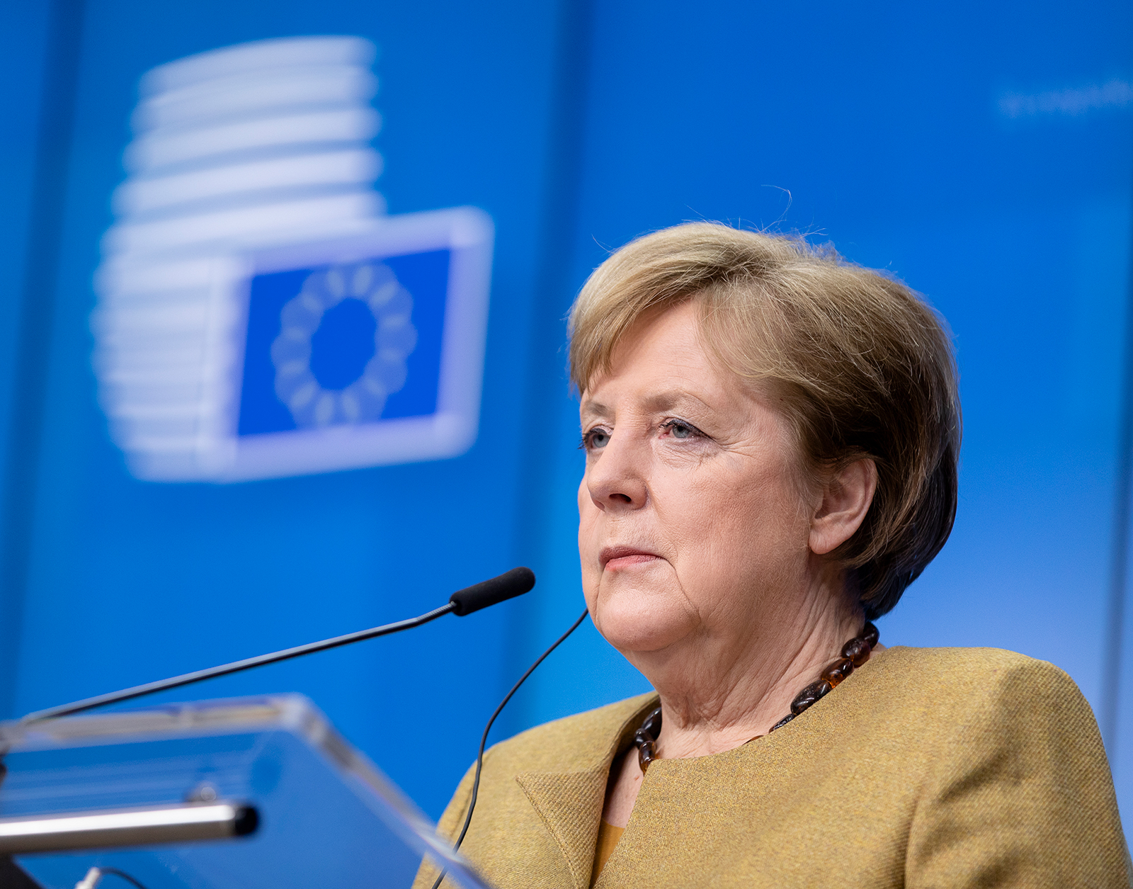 German Chancellor Angela Merkel addresses the media on the second day of an EU summit in Brussels on December 11.