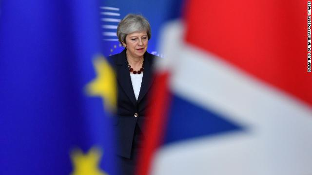 Britain's Prime Minister Theresa May arrives at the European Council in Brussels on October 17, 2018.