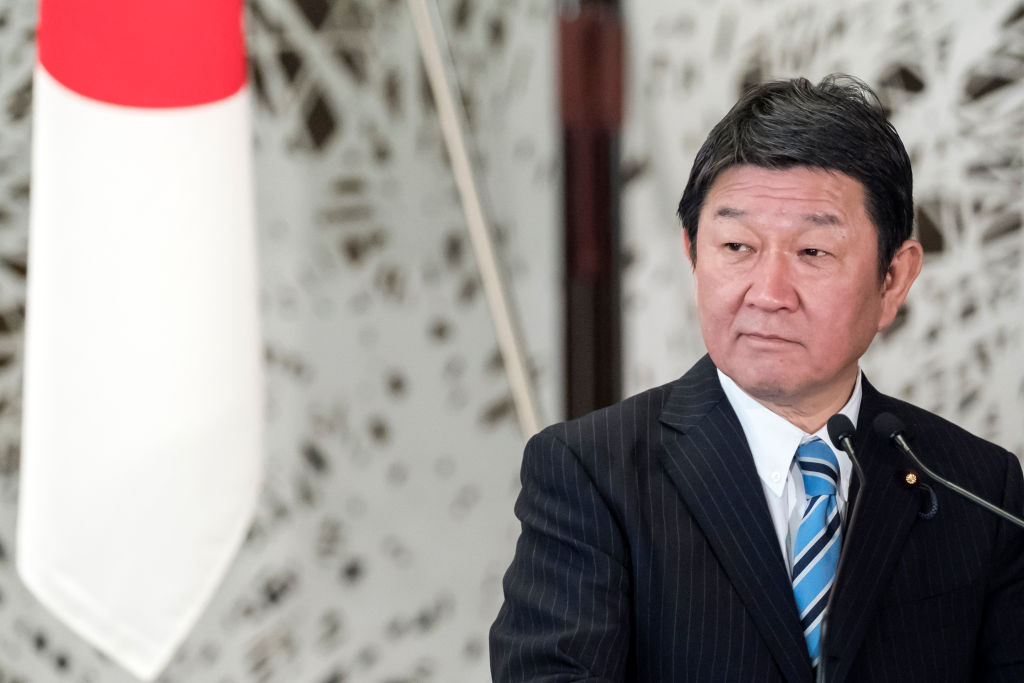 Japanese Foreign Minister Toshimitsu Motegi at the Japan-UK Foreign Ministers' Strategic Dialogue in Tokyo, Japan, in February.