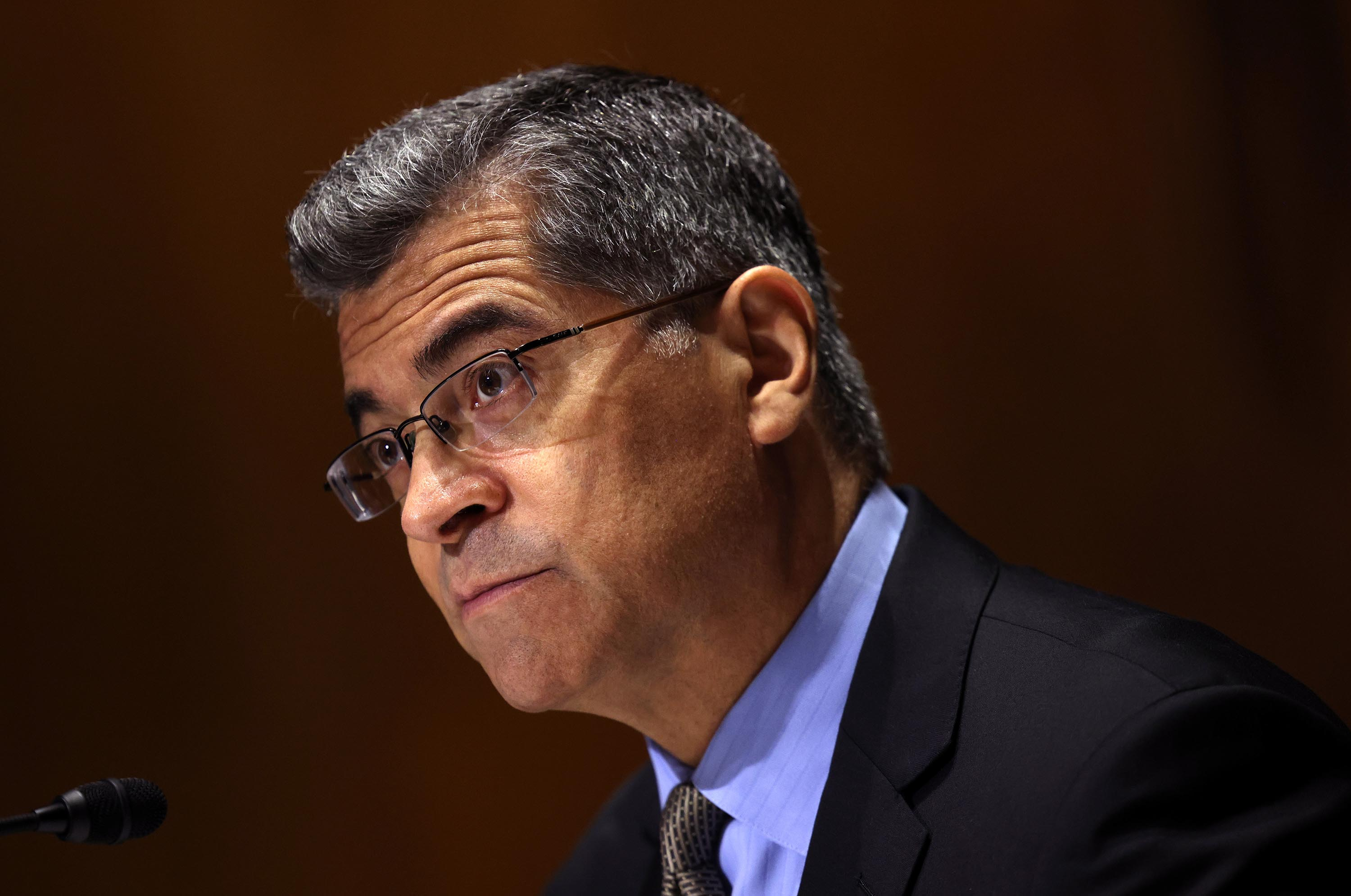 Health and Human Services Secretary Xavier Becerra testifies during a Senate Finance Committee hearing on June 10, 2021 in Washington, DC.