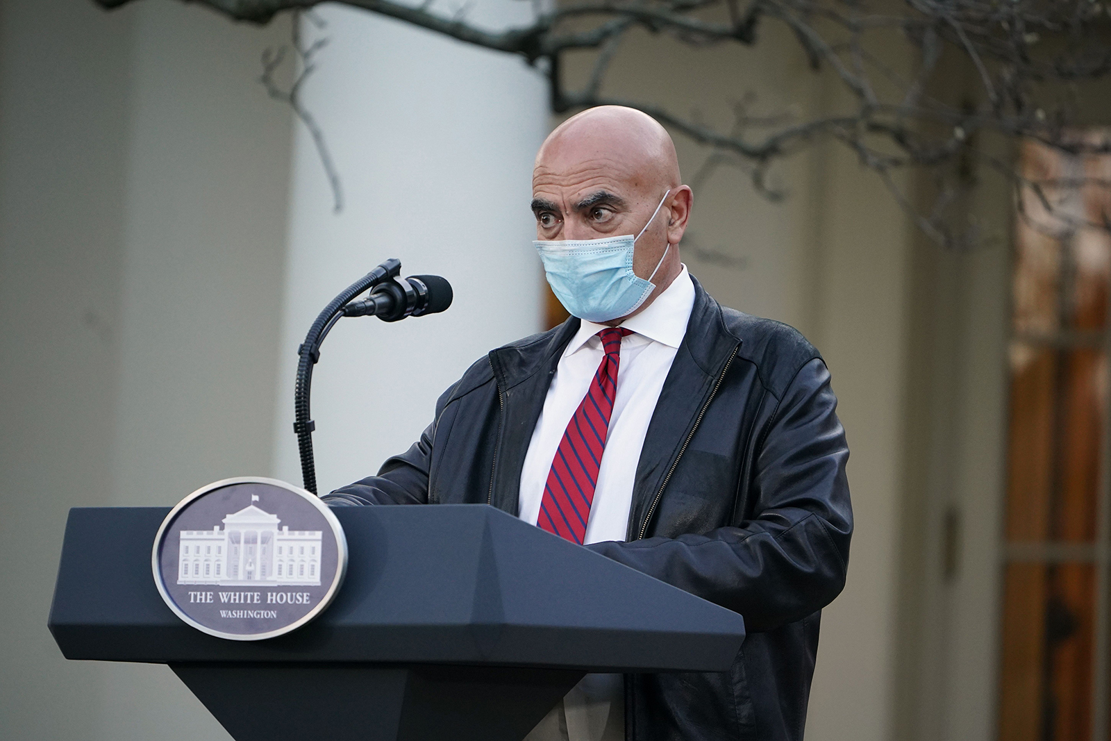 "Dr. Moncef Slaoui delivers an update on ""Operation Warp Speed"" in the Rose Garden of the White House in Washington on Nov. 13."