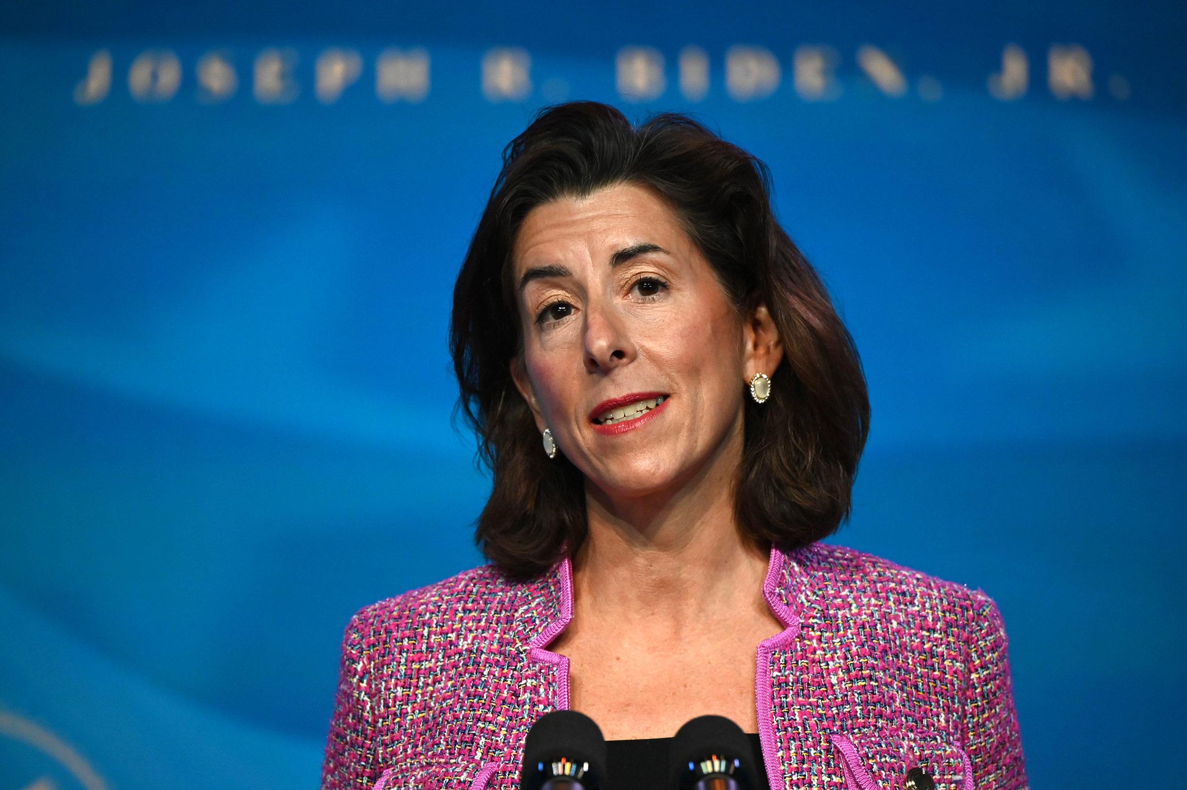 Gina Raimondo speaks at The Queen theater January 8 in Wilmington, Delaware.