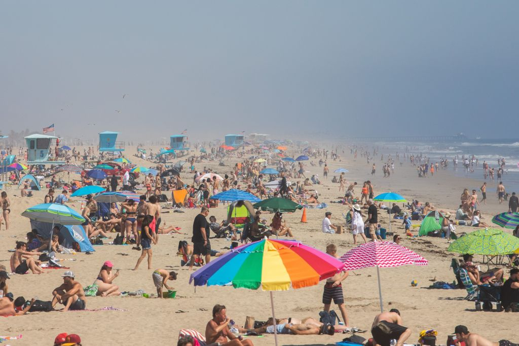 Crowds at Huntington Beach, California on April 25.
