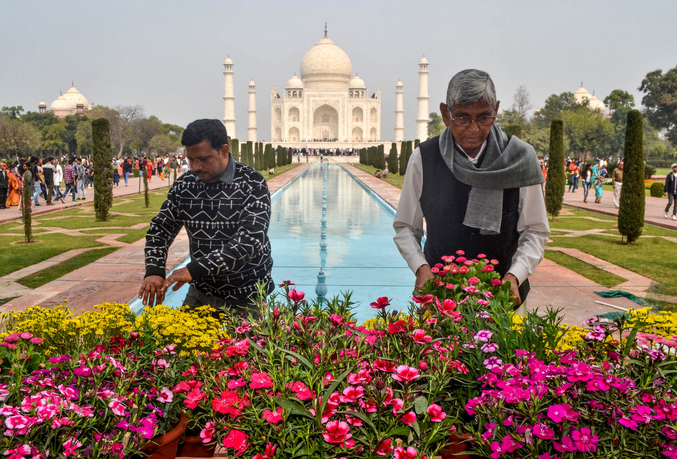 Workers plant new flowers in front of the Taj Mahal on February 22.