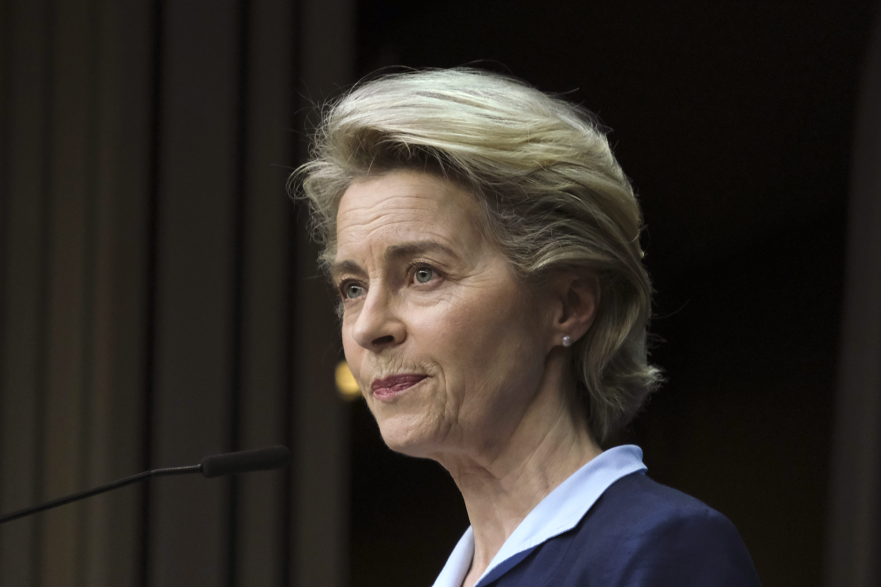 European Commission President Ursula von der Leyen speaks during a press conference on February 26, in Brussels, Belgium.