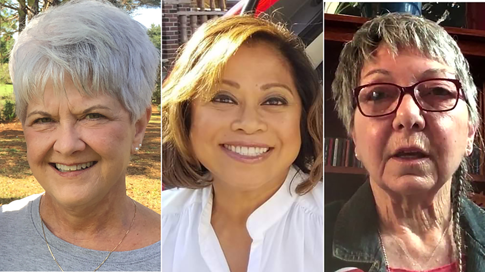 These retired nurses and many others were in urgent demand this year to fight Covid-19. From left to right: Mary Milliard, Evelyn Ochoa-Celano, Juliana Morawski.